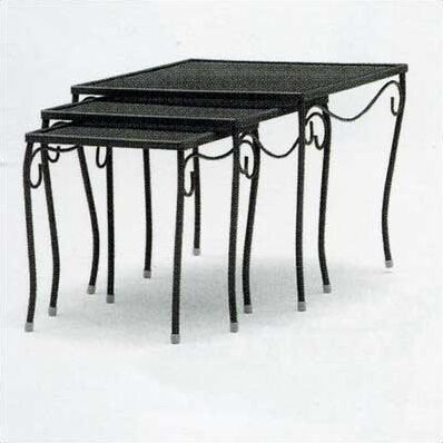 Mesh Top Occasional Nest of 3 Wrought Iron Side Table Finish: Hammered White