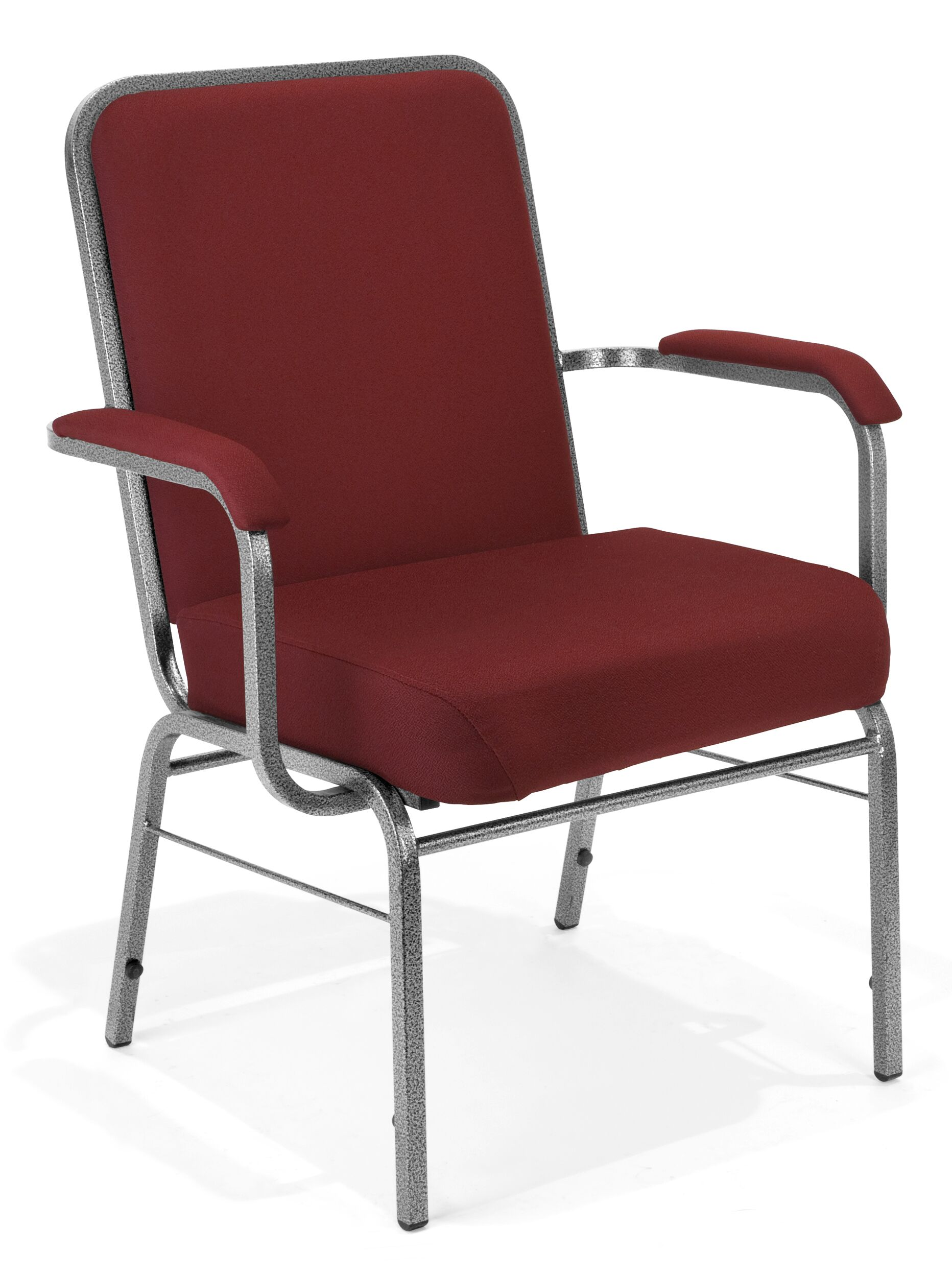 Big and Tall Mid-Back Stacking with Cushion Guest Chair Seat Finish: Wine