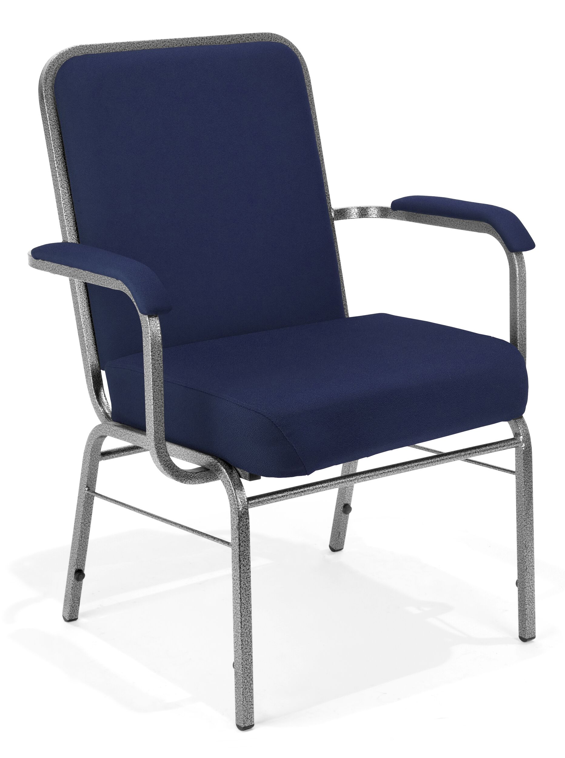 Big and Tall Mid-Back Stacking with Cushion Guest Chair Seat Finish: Navy