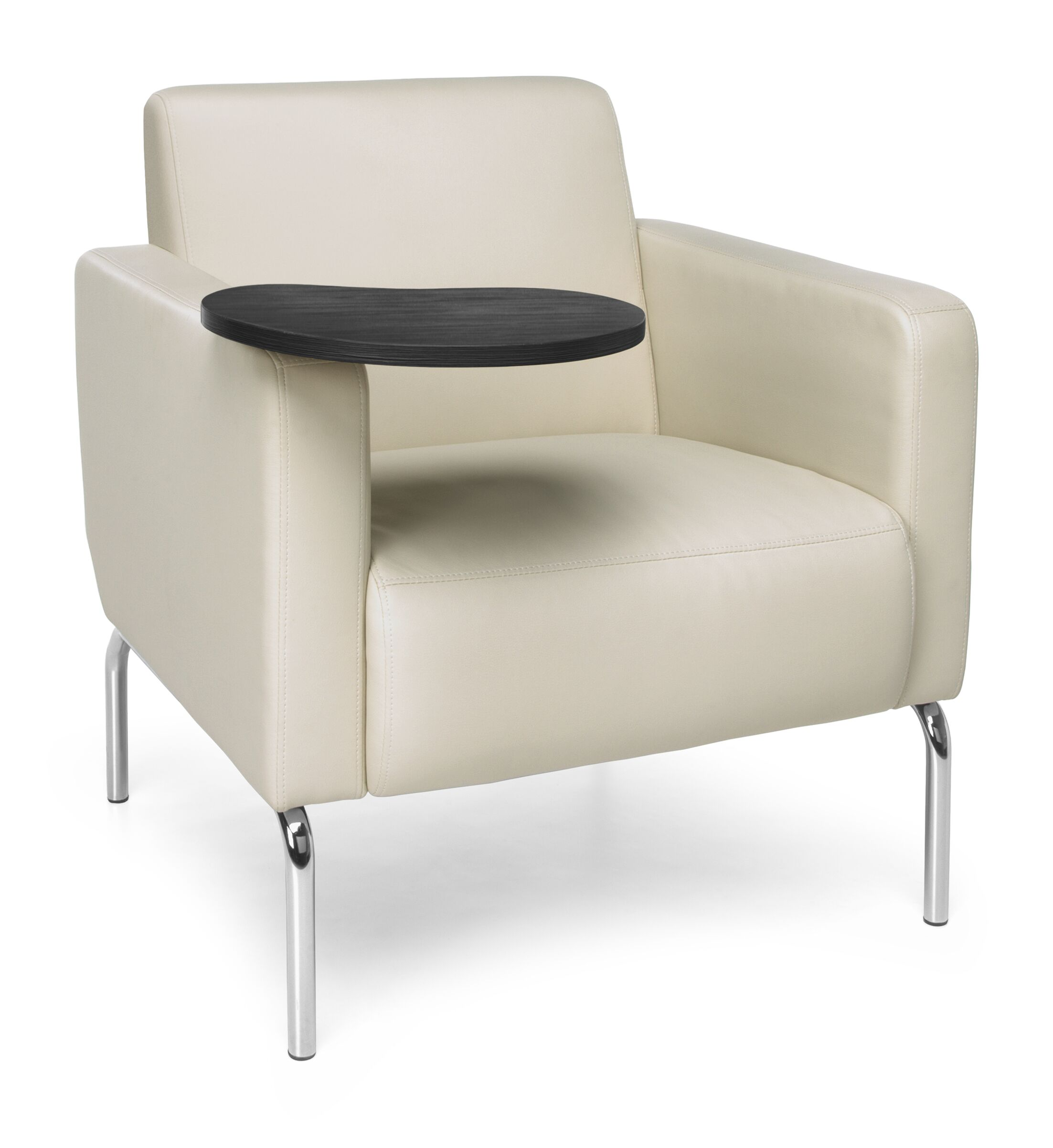 Triumph Series Lounge Chair with Tablet Finish: Tungsten, Color: Cream