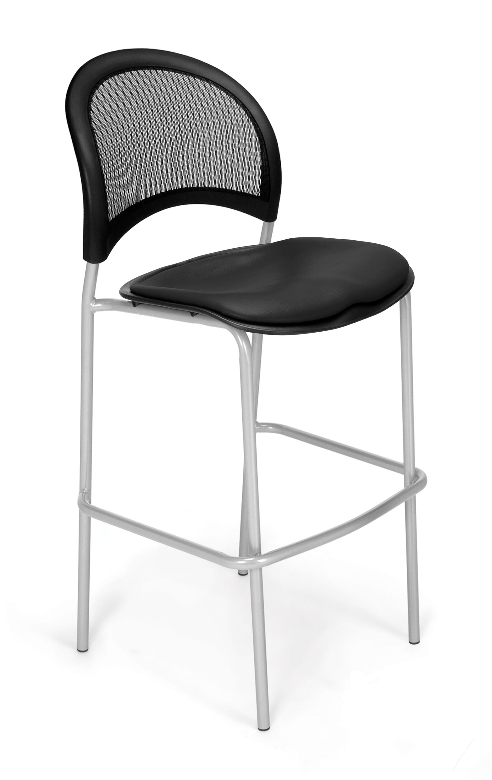 Stars and Moon Cafe Height Guest Chair Base Finish: Silver, Seat Cover: Vinyl Black