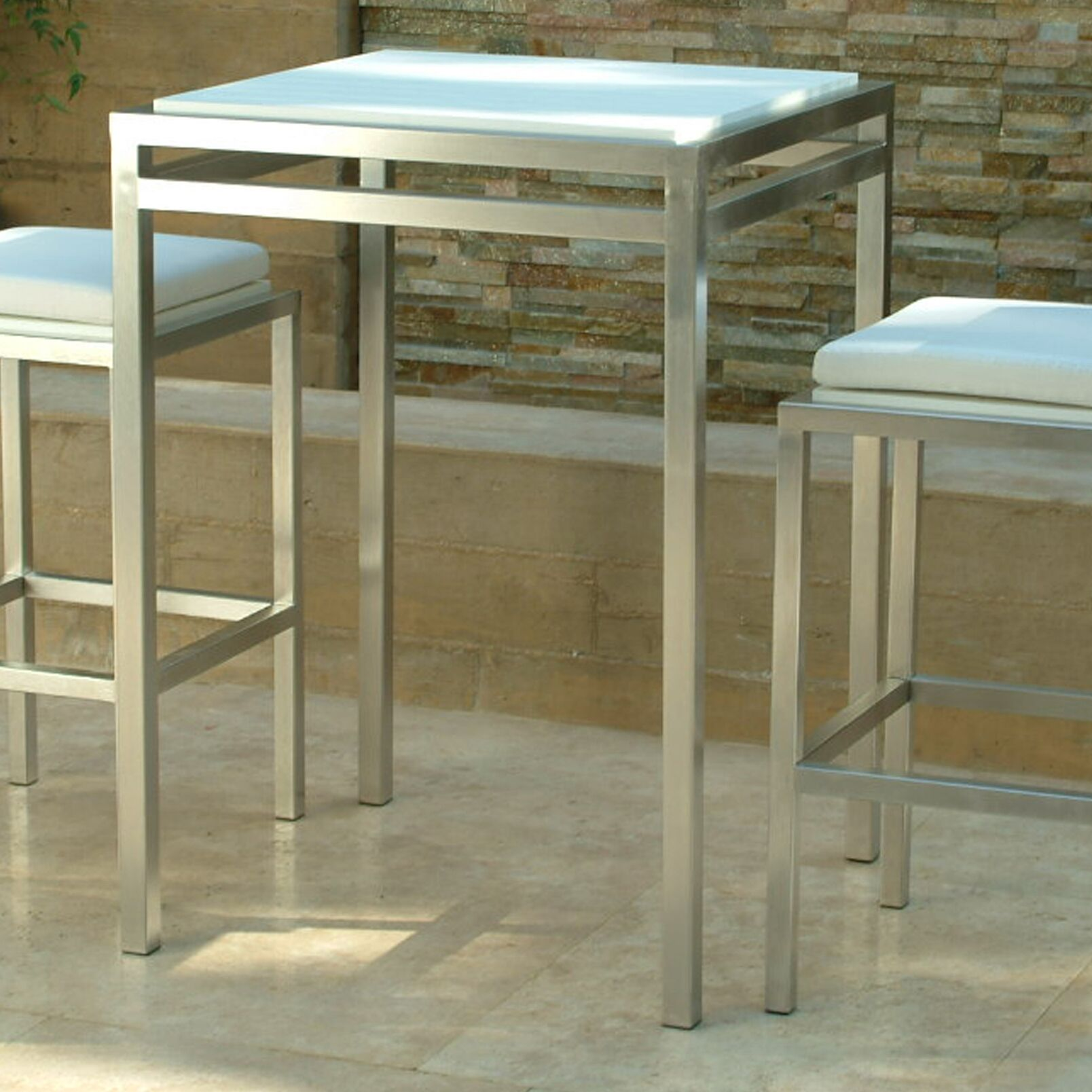 Talt Stainless Steel Bar Table Table Base Finish: Stainless Steel, Table Top Finish: Seafoam Polyboard, Size: 41.5