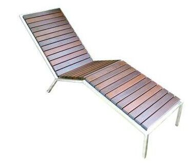 Talt Fixed Chaise Lounge Surface Finish: Ipe, Frame Finish: Silver Powder Coated Steel