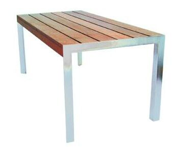 Etra Stainless Steel Dining Table Base Finish: Stainless Steel, Top Finish: Sand Shade Polyboard, Table Size: 8'