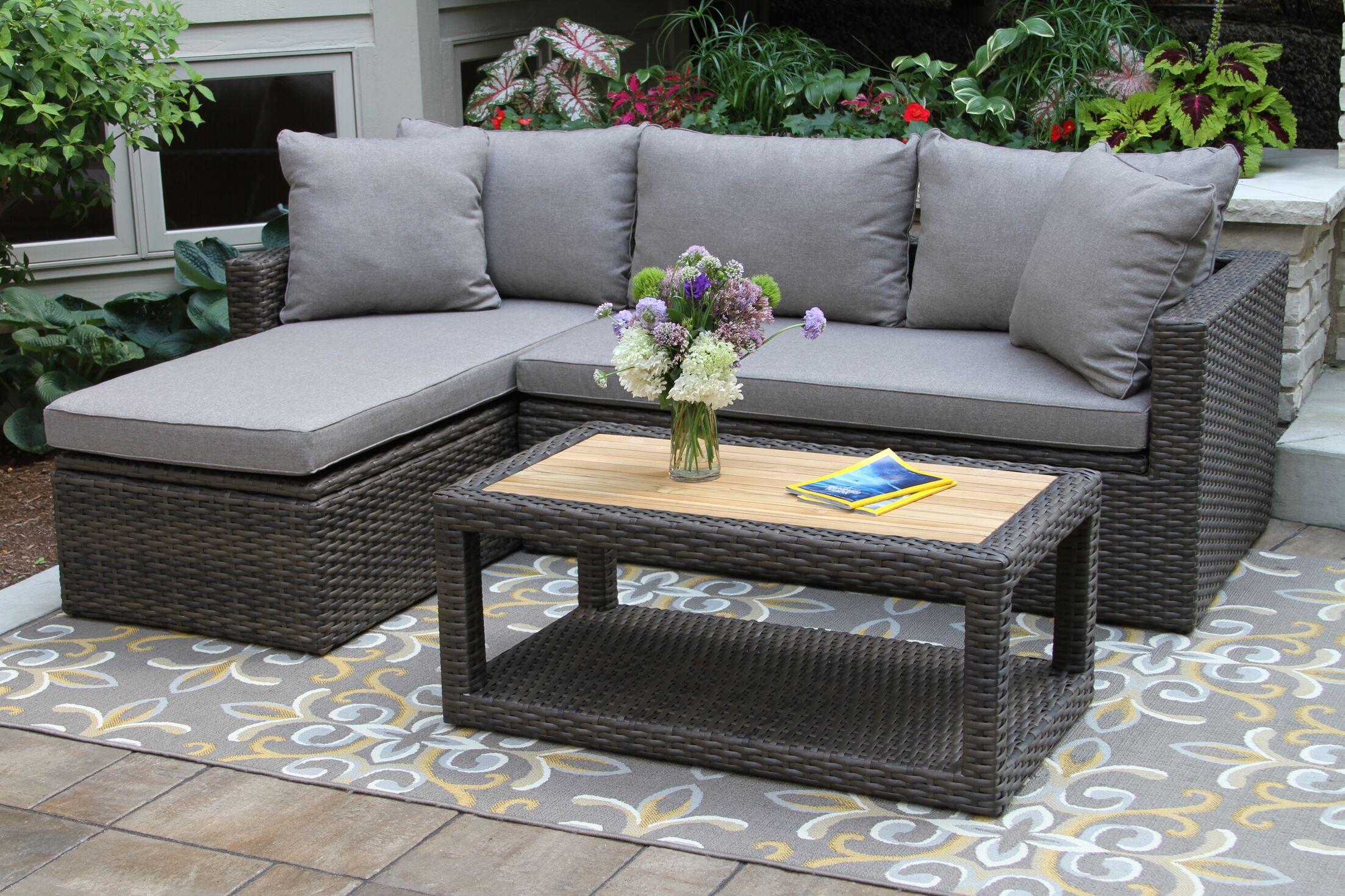 Yun 3 Piece Teak Sofa Set with Cushions