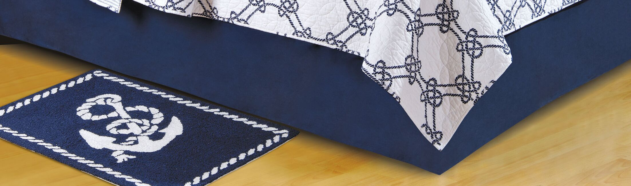Solid Blue Bed Skirt Size: Queen