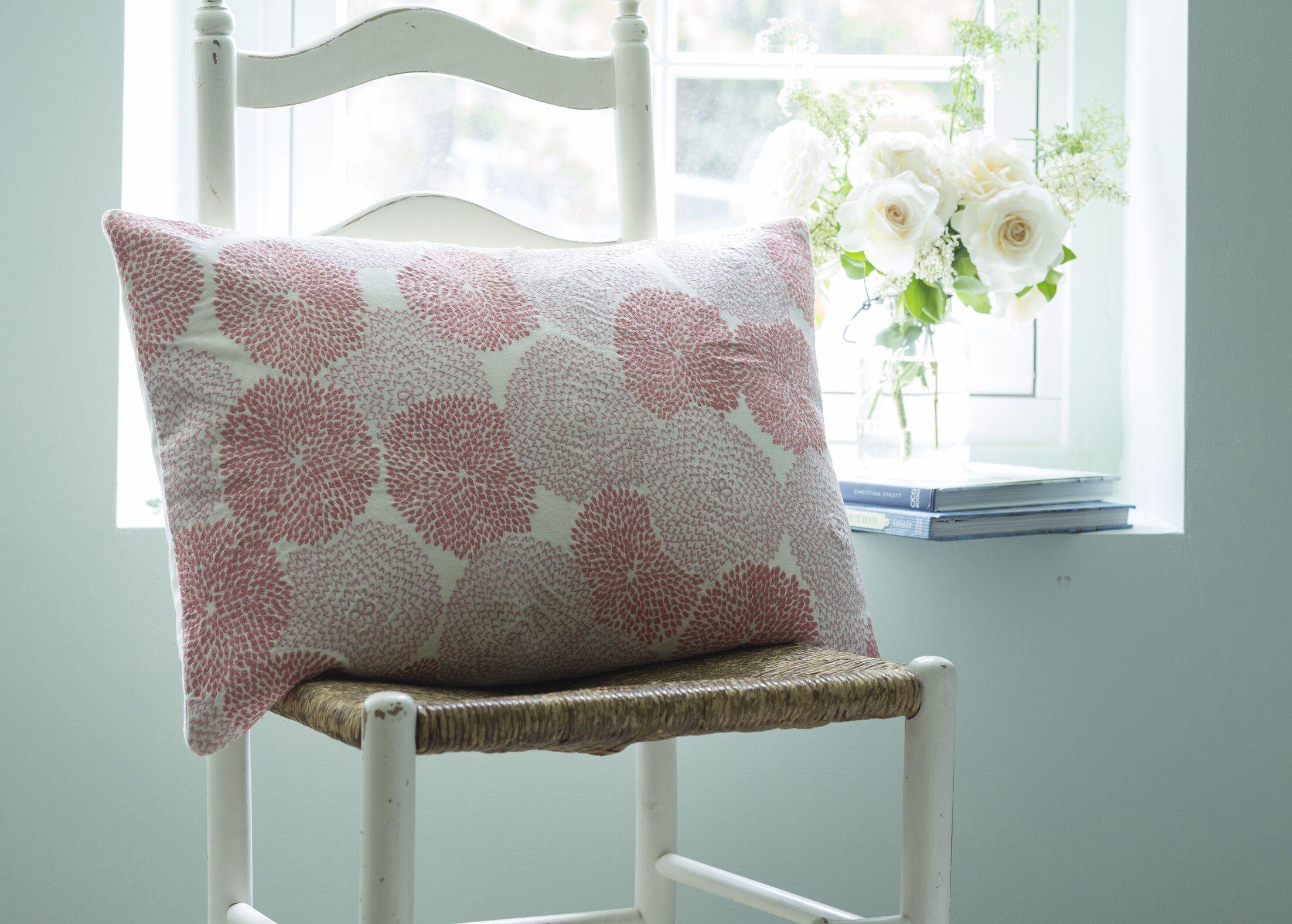 Zinnia Embroidered Cotton Lumbar Pillow