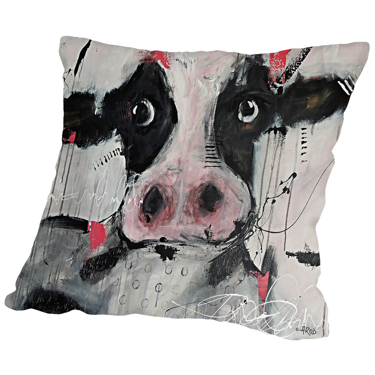 Cow Pink Throw Pillow Size: 16