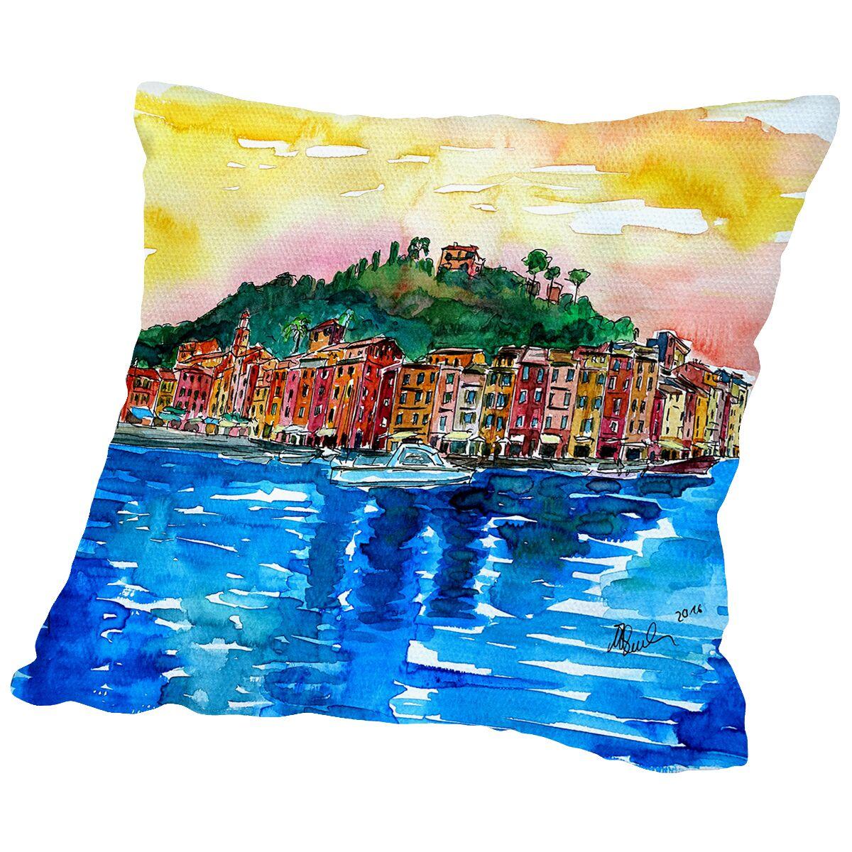 Picturesque Portofino Ligure Italy Throw Pillow Size: 14