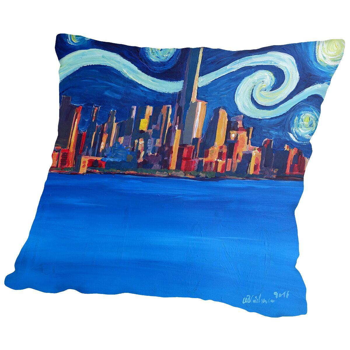 Starry Night in New York City - Freedom Tower Manhattan Van Gogh Inspirations2 Throw Pillow Size: 20