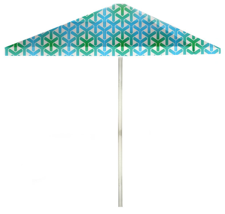 6' Square Market Umbrella Color: Green/Blue/White