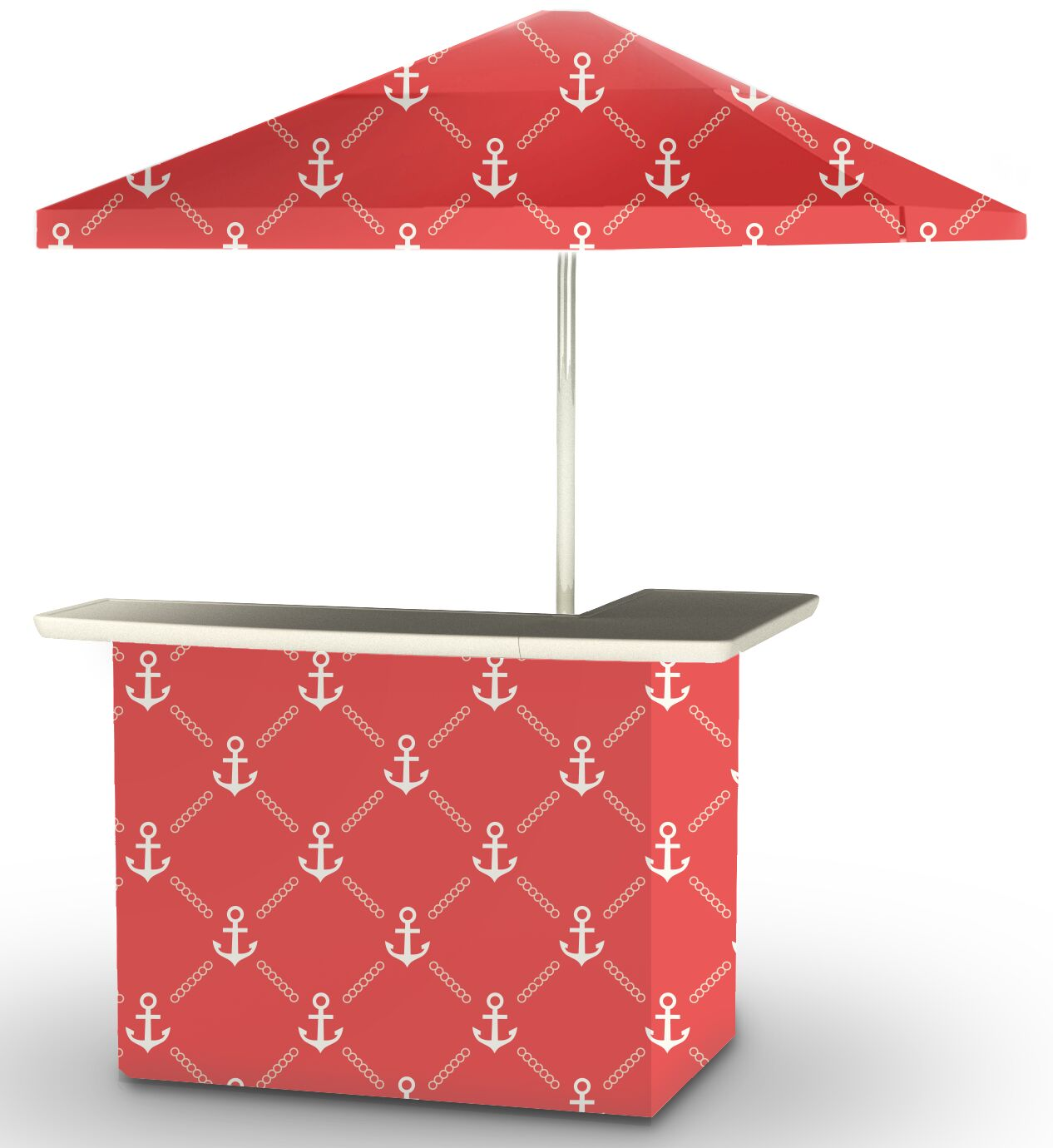 5 Piece Patio Home bar Finish: White/Red
