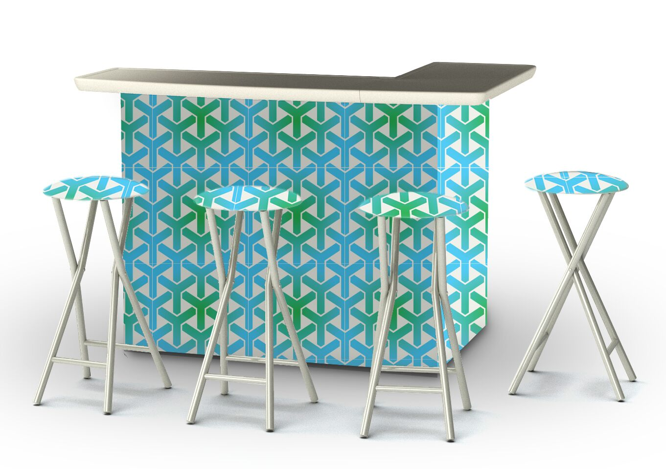 Patio 8 Piece Bar Set Finish: Green/Blue/White