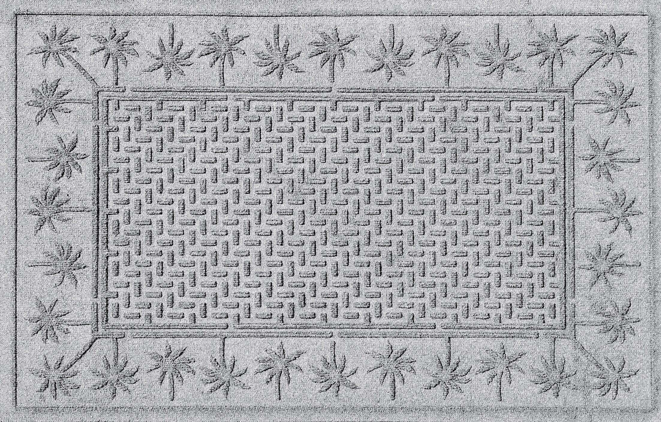 Aqua Shield Island Palms Doormat Color: White