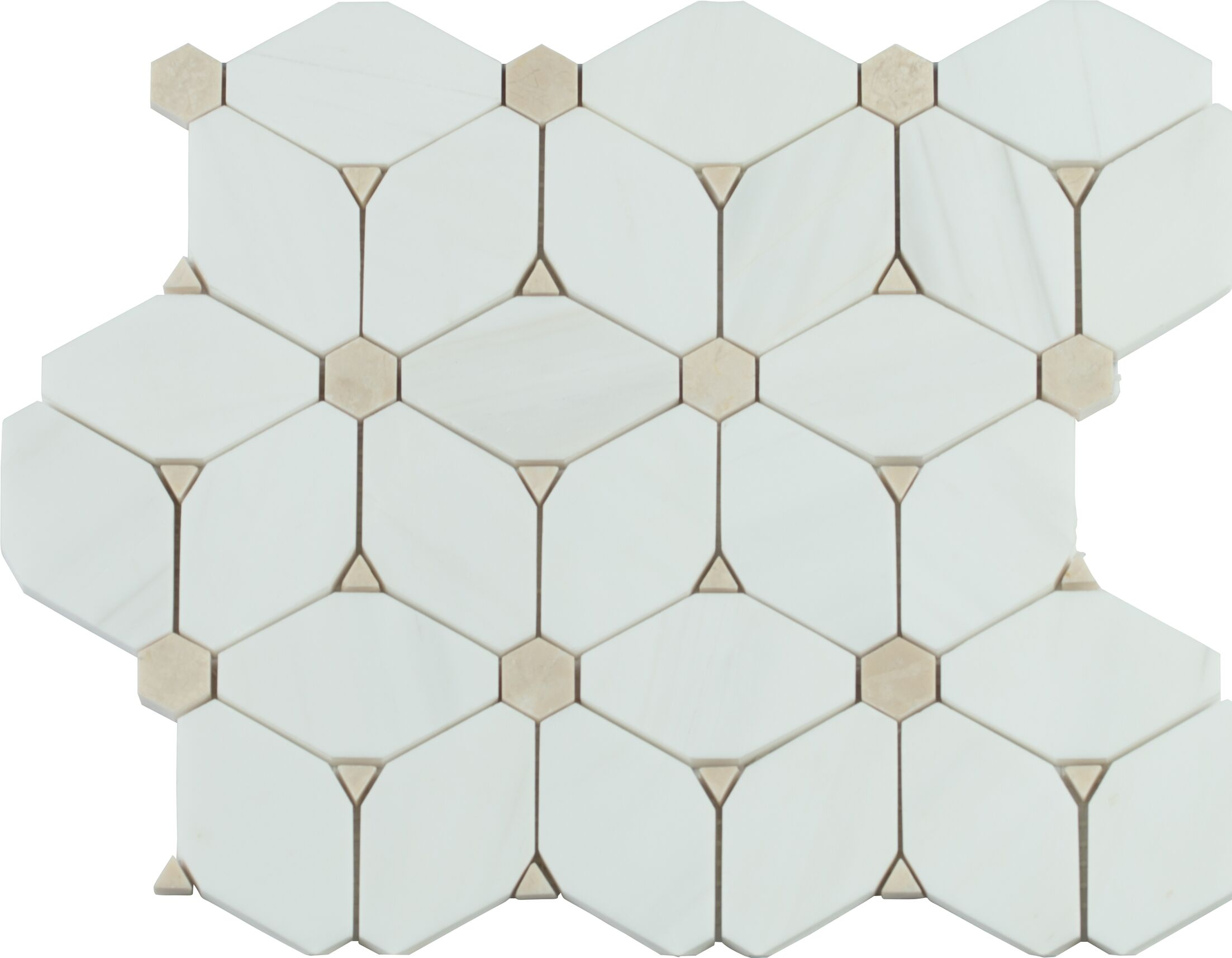 Cecily Pattern Polished Marble Mosaic Tile in White