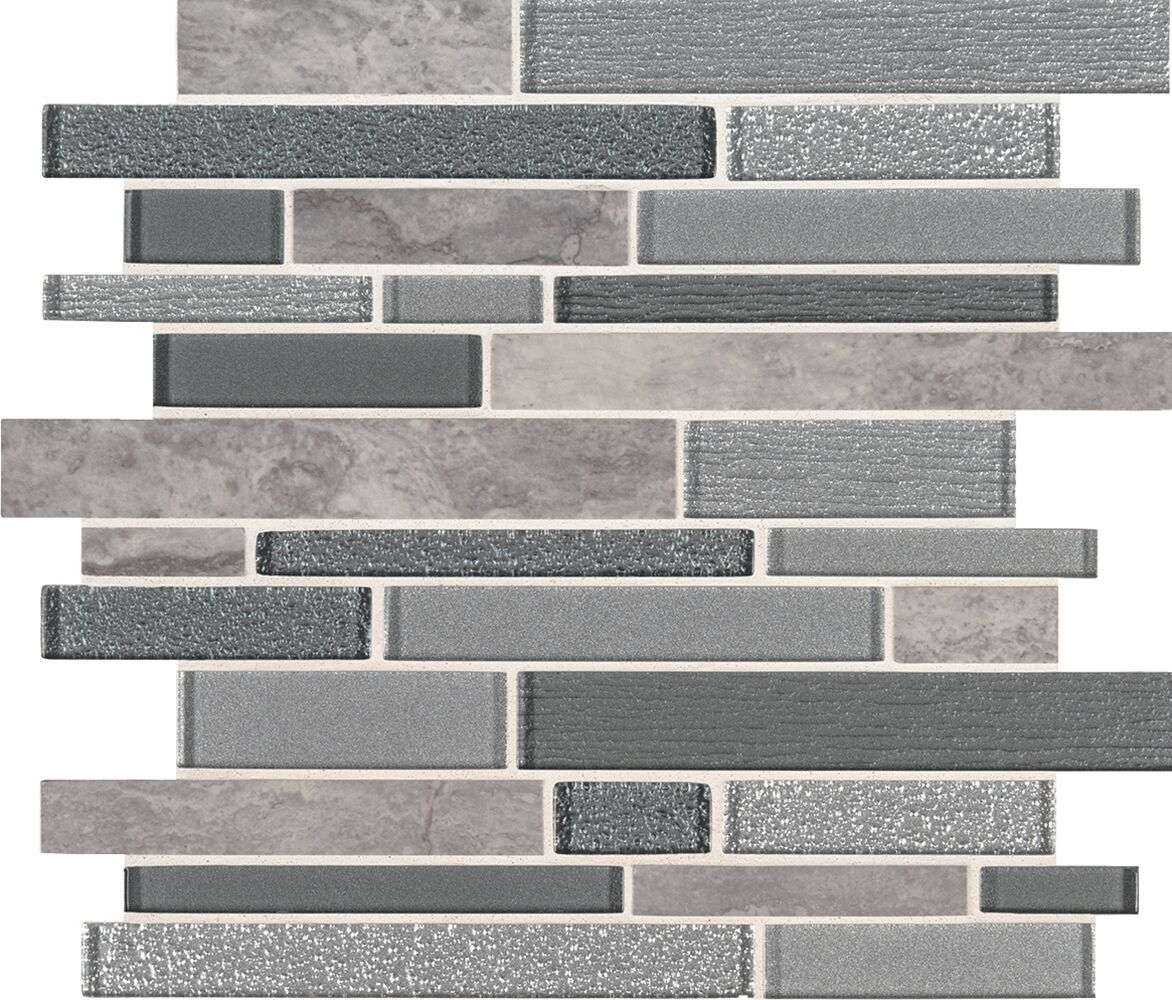 Smoky Alps Random Sized Glass/Porcelain Mosaic Tile in Gray