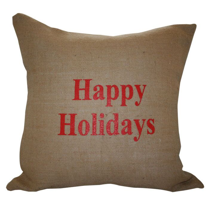 Happy Holidays Throw Pillow Color: Red