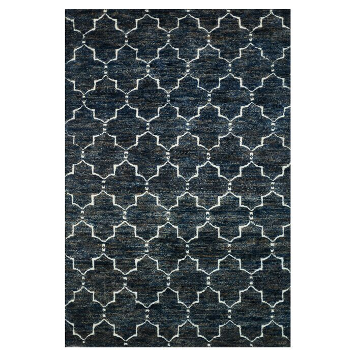 Palumbo Hand-Knotted Dark Blue Area Rug Rug Size: Rectangle 7'9