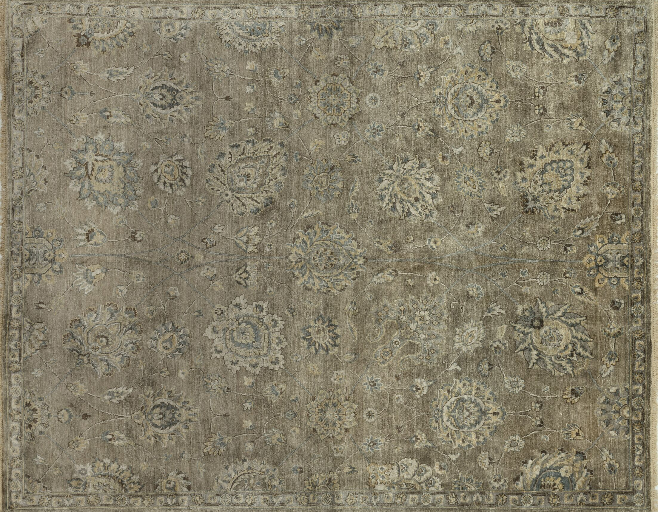 Kehoe Hand-Knotted Beige Area Rug Rug Size: Rectangle 7'9