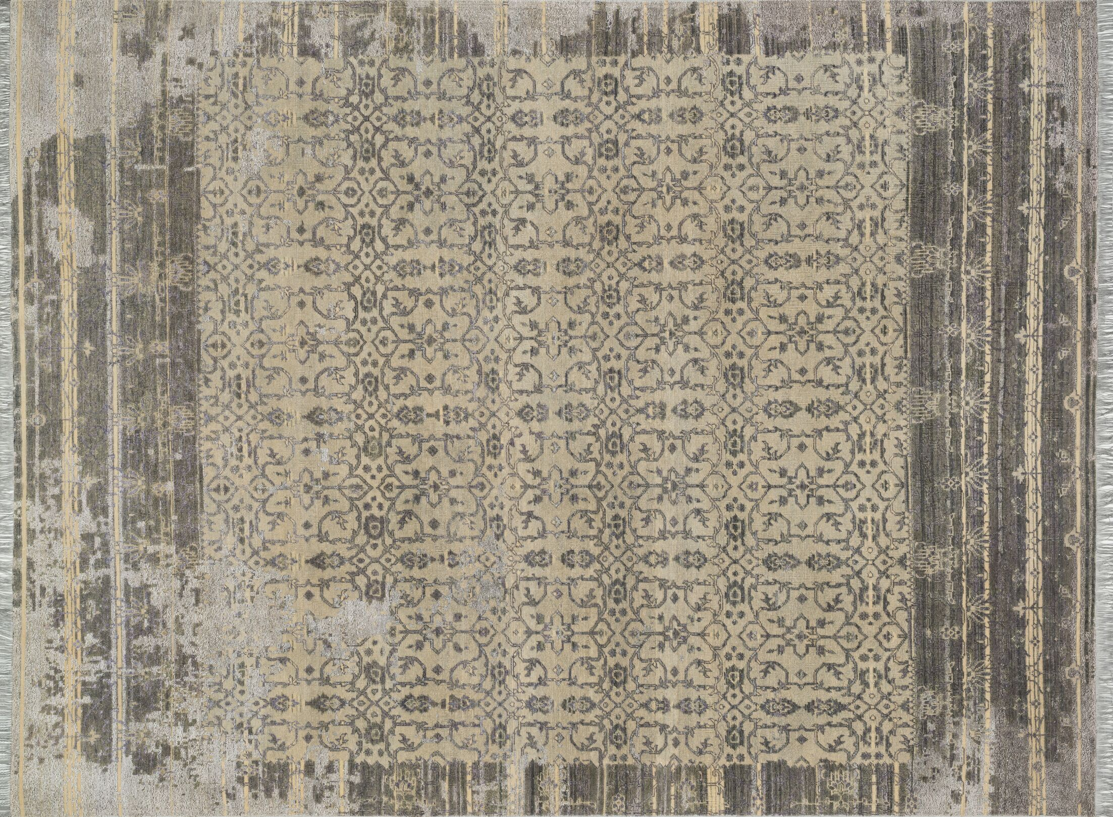 Keithley Hand-Knotted Slate/Silver Area Rug Rug Size: Rectangle 12' x 15'