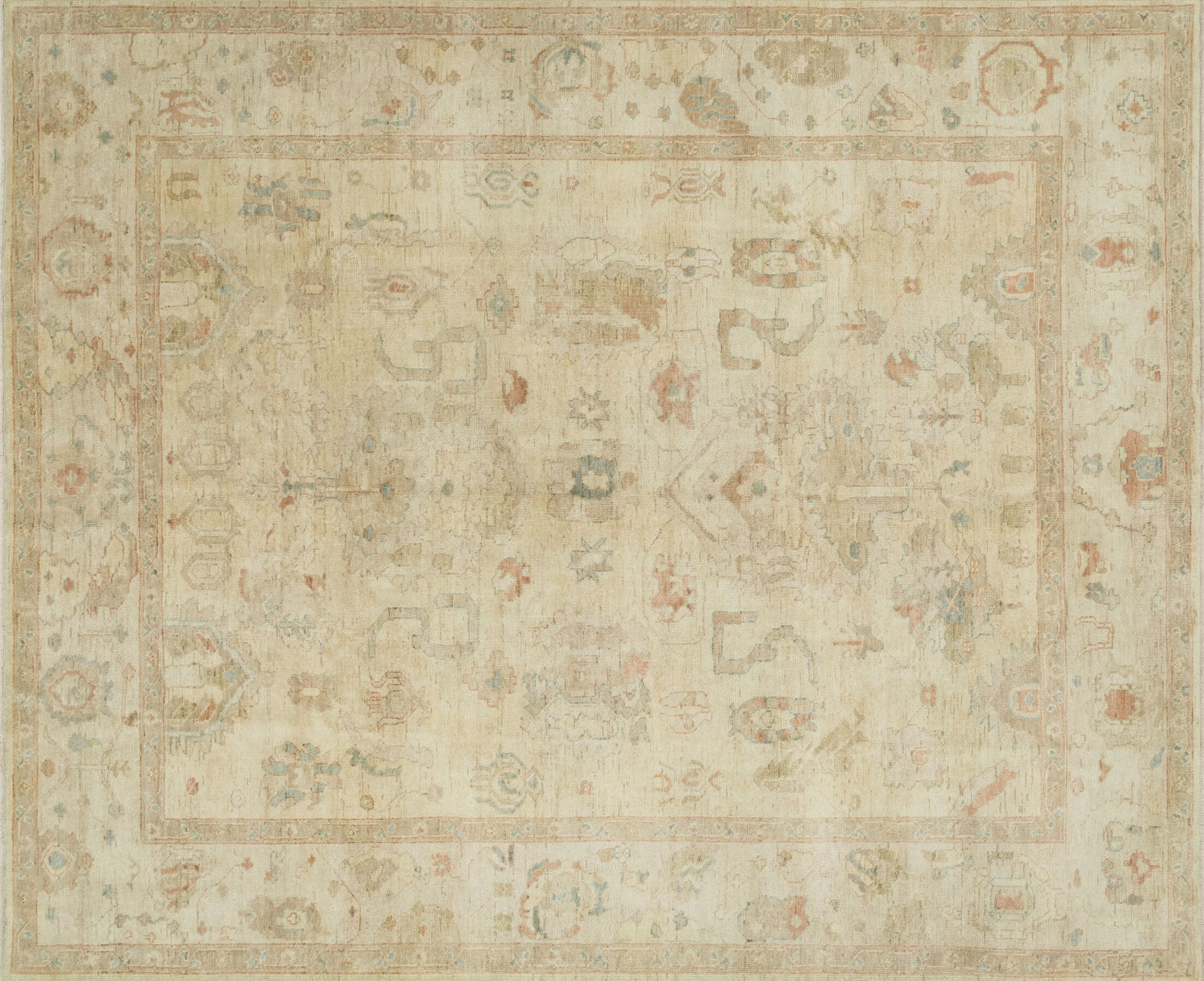 Abelard Hand-Knotted Beige Area Rug Rug Size: Rectangle 5'6