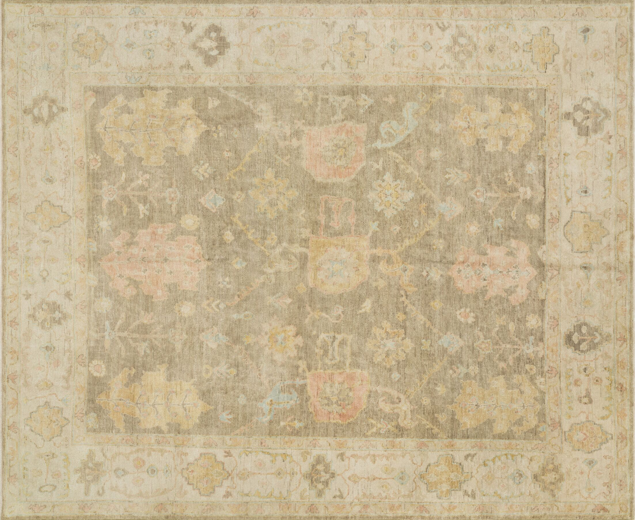Abelard Hand-Knotted Moss Gray/Stone Area Rug Rug Size: Rectangle 9'6