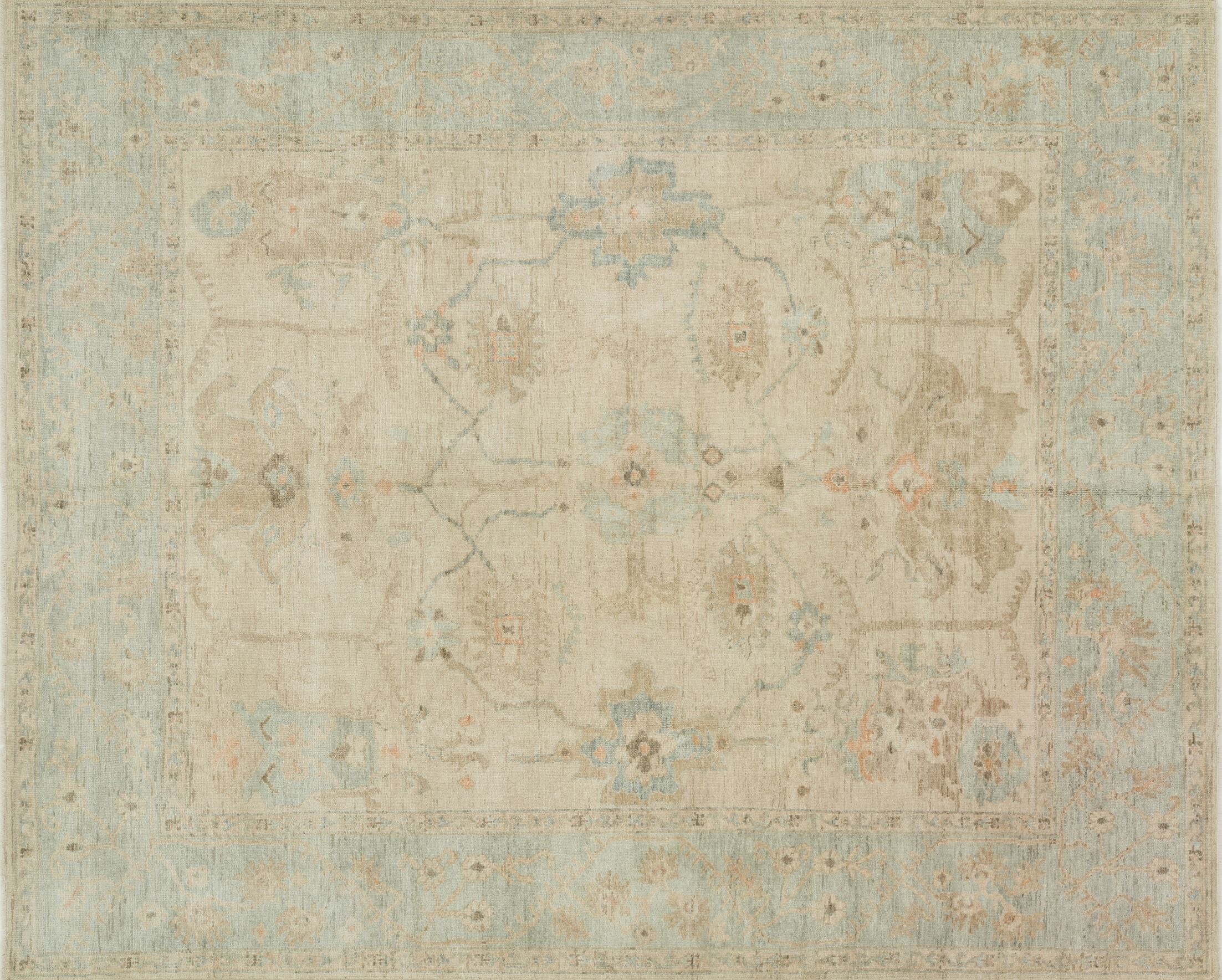Abelard Hand-Knotted Stone/Mist Area Rug Rug Size: Rectangle 12' x 15'