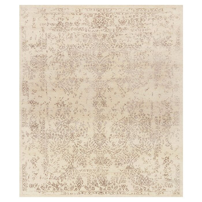 Colson Hand-Knotted Ivory/Taupe Area Rug Rug Size: Rectangle 7'9