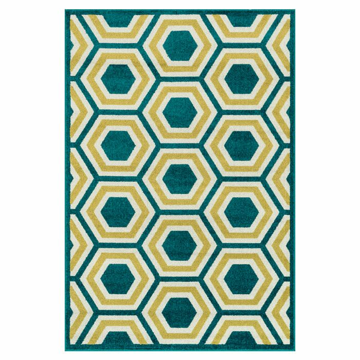 Winifred Green/Yellow Indoor/Outdoor Area Rug Rug Size: Rectangle 9'2