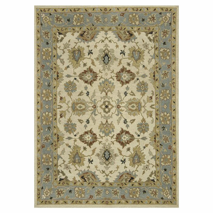 Keiser Hand-Knotted Beige/Blue Sky Area Rug Rug Size: Rectangle 5'6