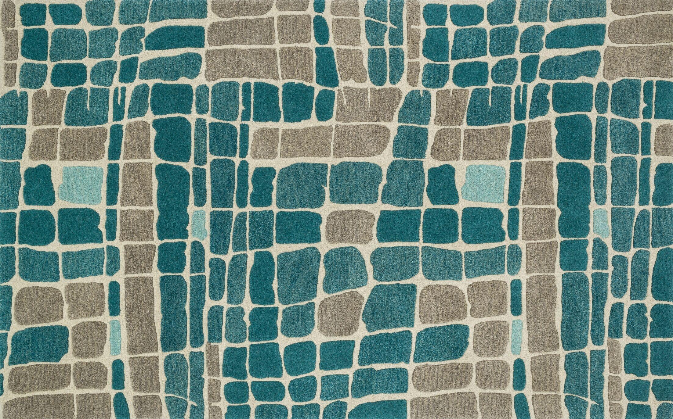Earnhart Teal/Gray Area Rug Rug Size: Rectangle 7'10