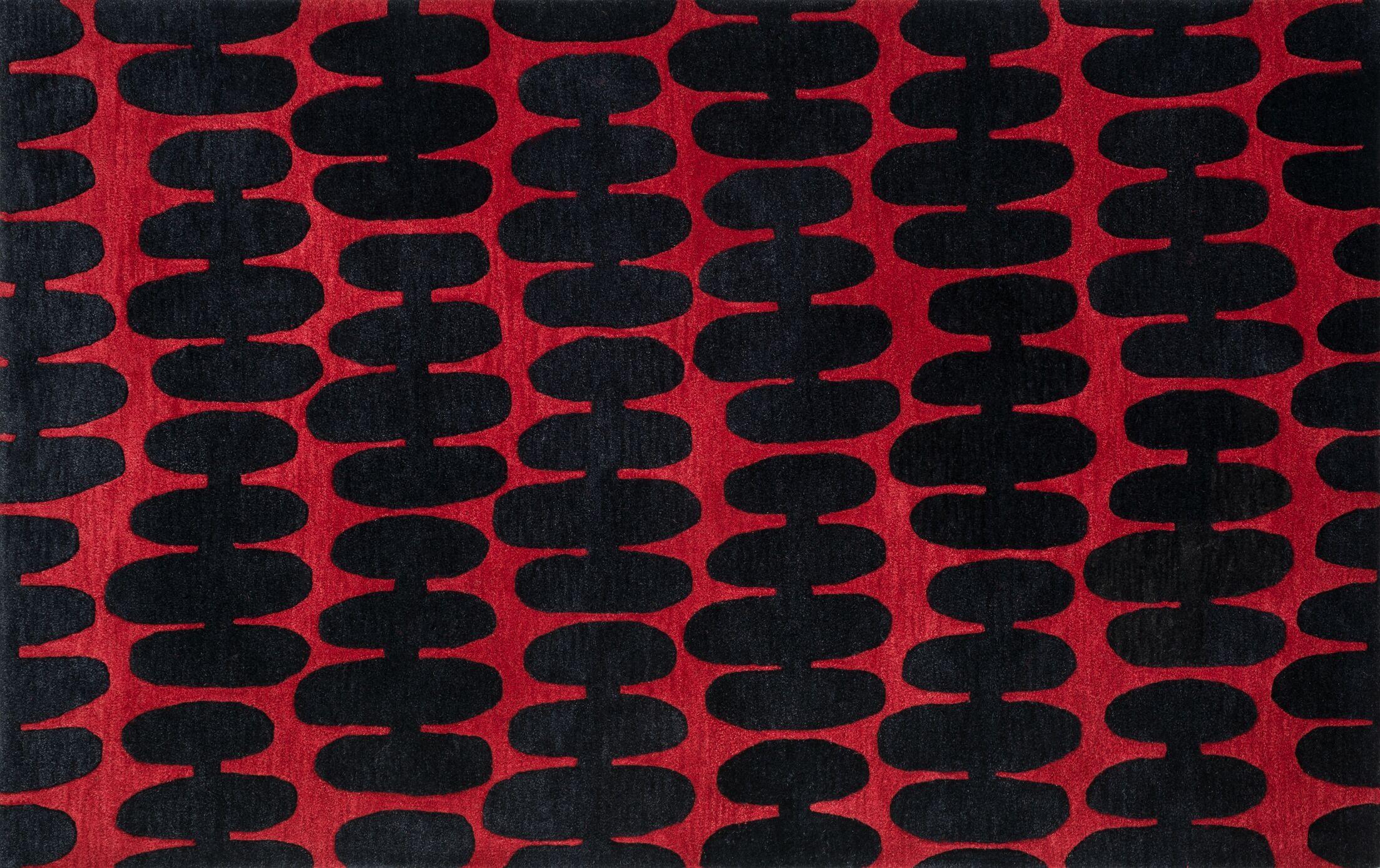 Earnhart Red/Black Area Rug Rug Size: Rectangle 3'6