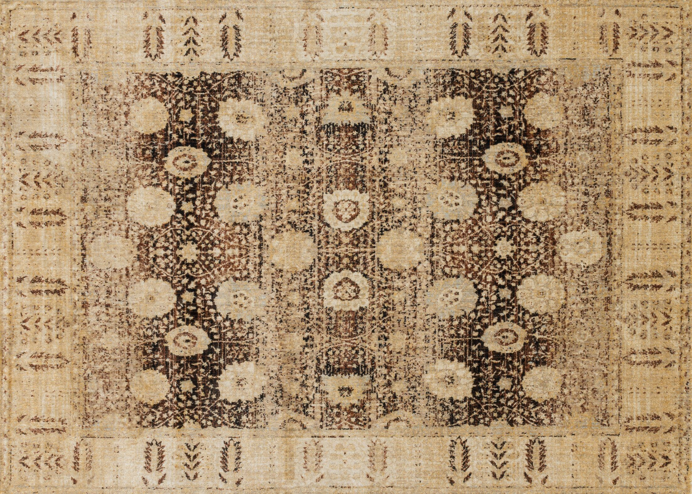 Zehner Coffee/Gold Area Rug Rug Size: Rectangle 13' x 18'