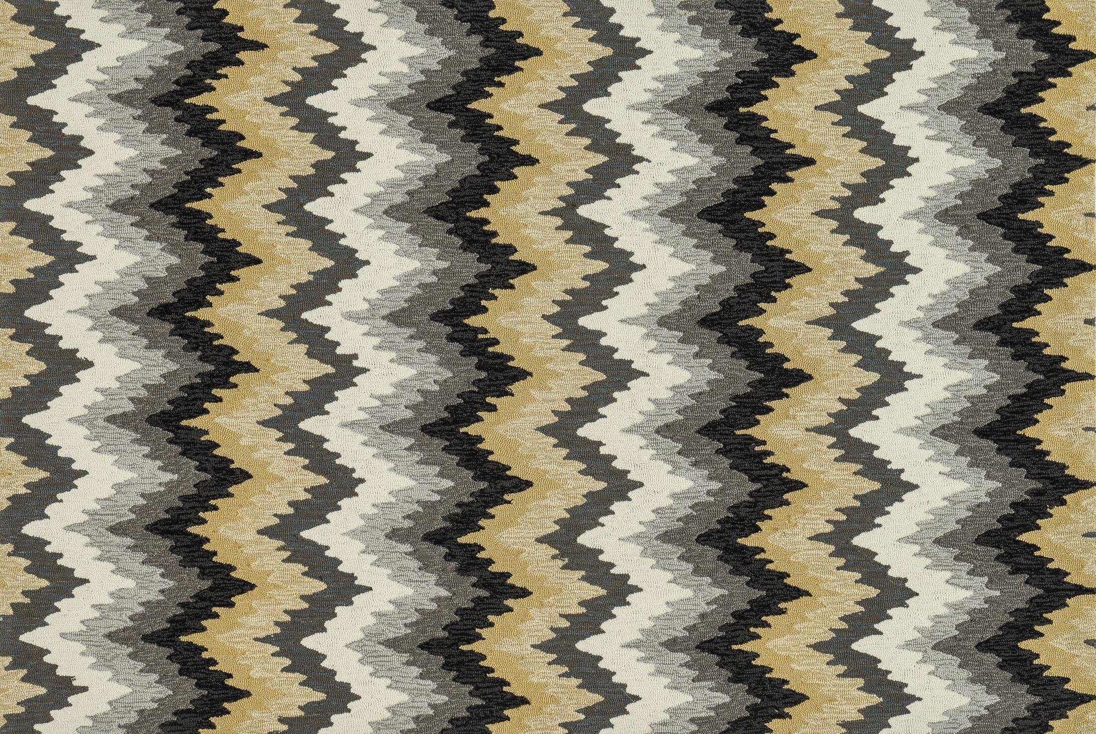 Danis Hand-Hooked Black/Gray Area Rug Rug Size: Rectangle 5' x 7'6