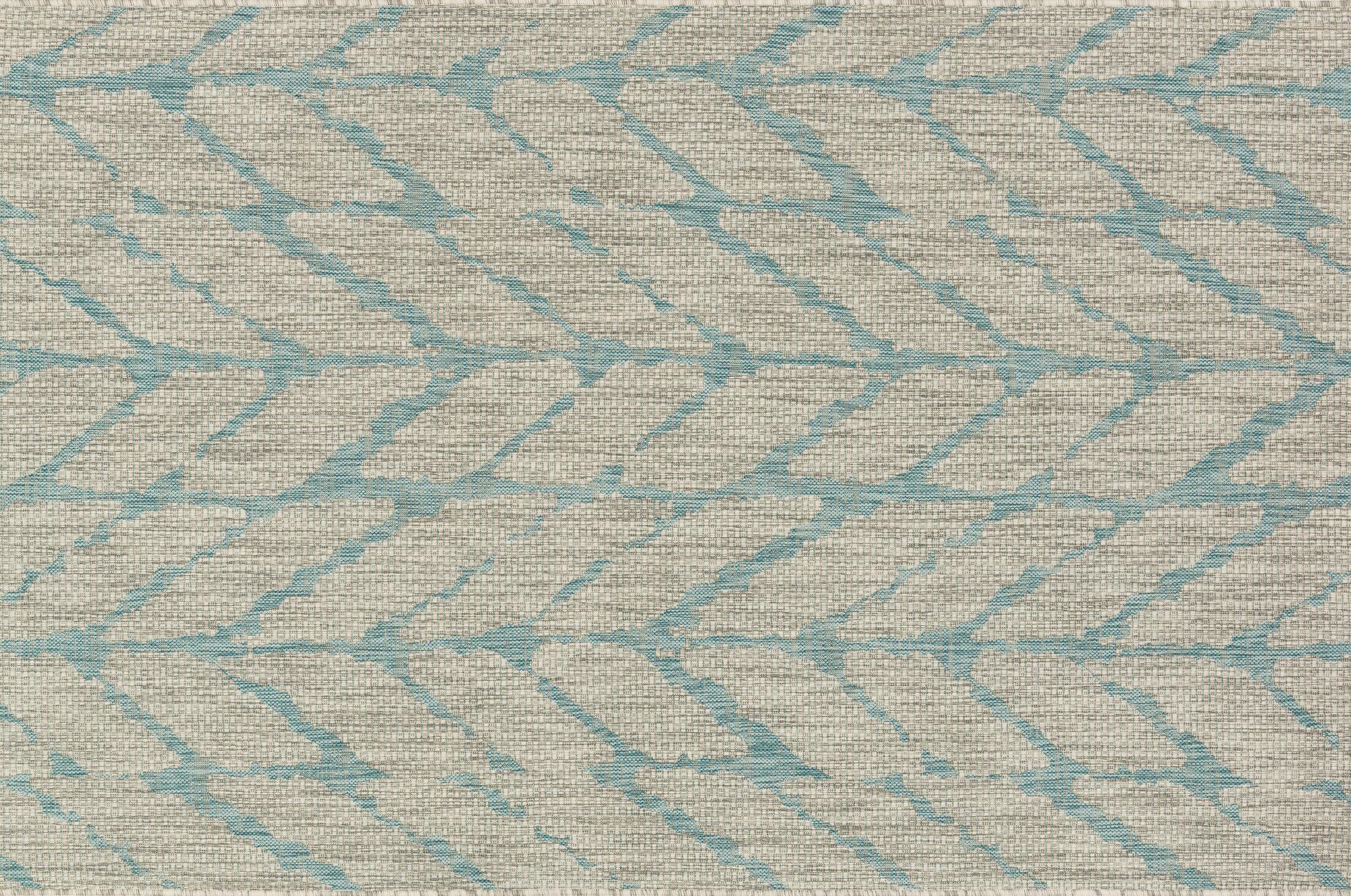 Bundy Mist/Aqua Indoor/Outdoor Area Rug Rug Size: Rectangle 5'3