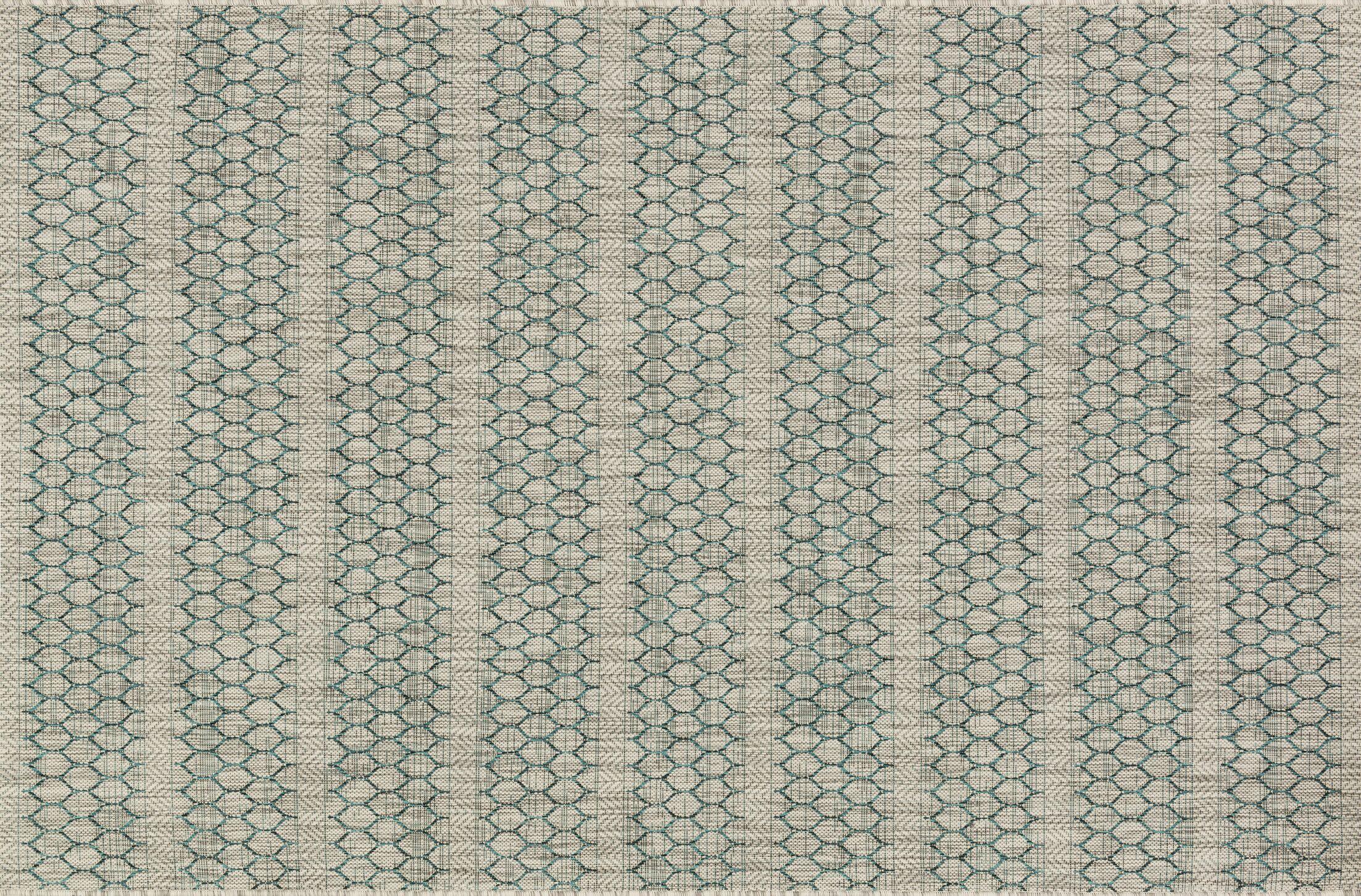 Bundy Gray/Teal Indoor/Outdoor Area Rug Rug Size: Rectangle 3'11
