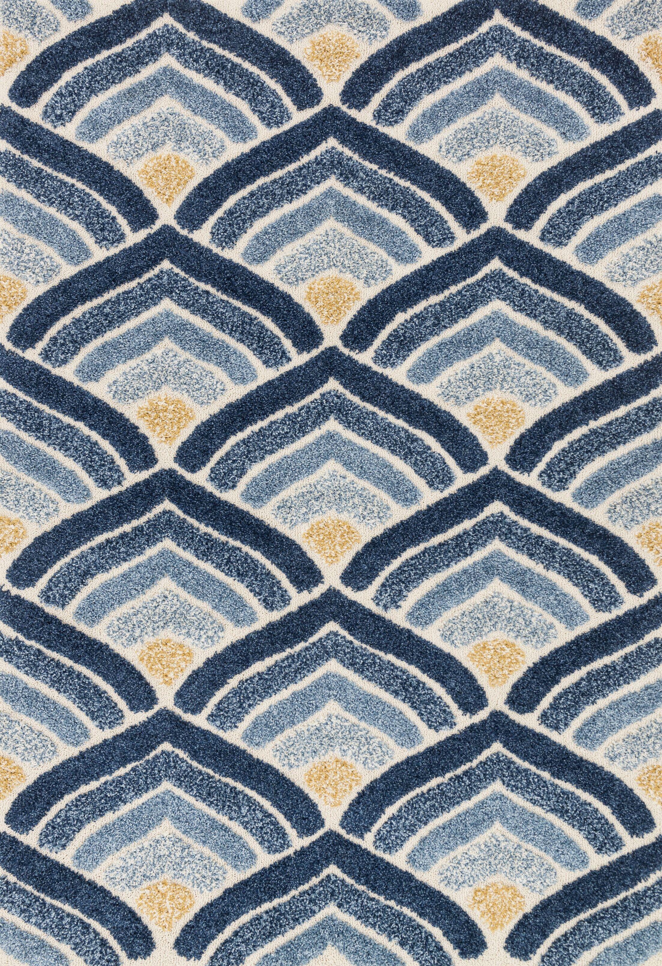 Dania Blue/Ivory Area Rug Rug Size: Rectangle 3'10