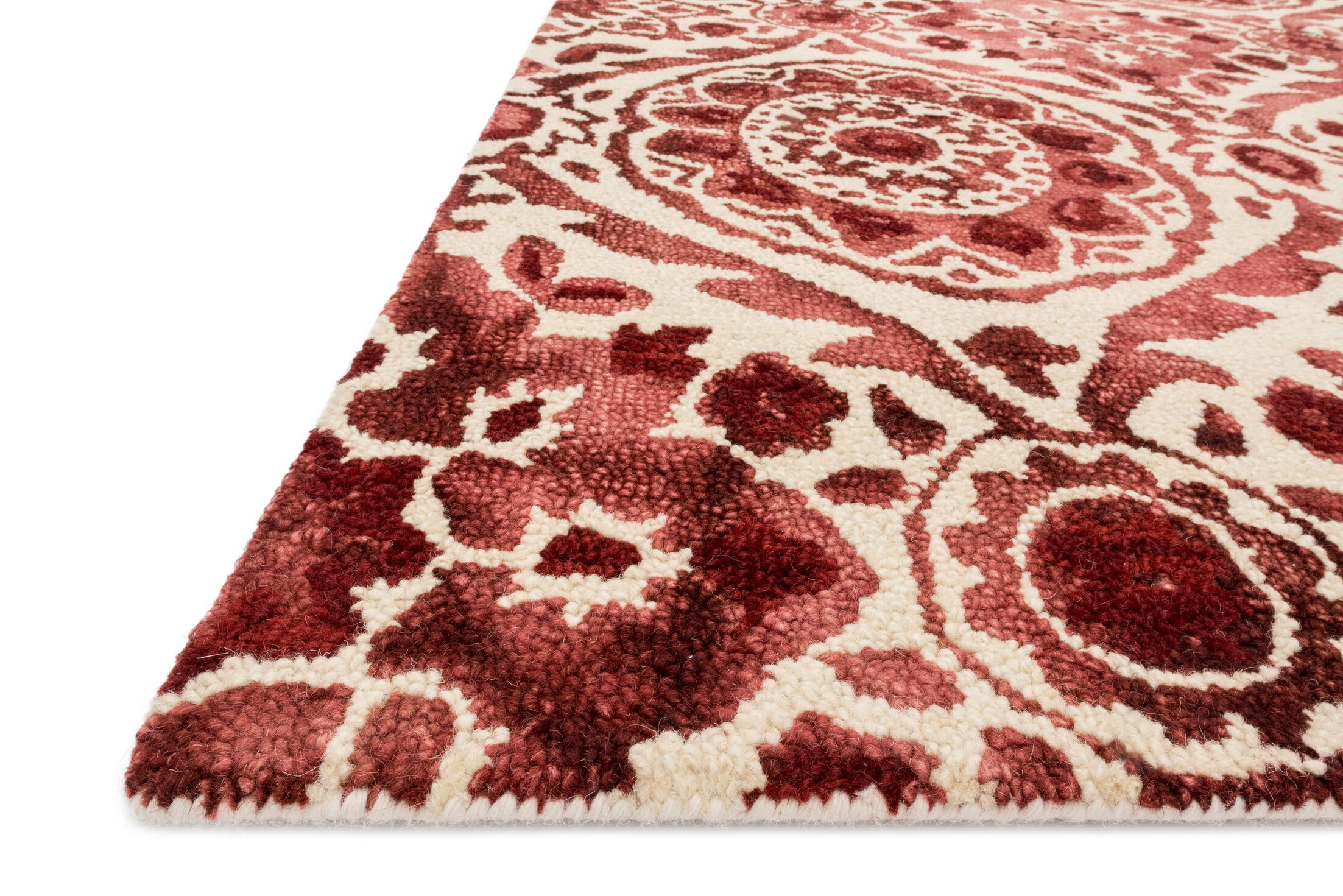 Kirsch Hand-Hooked Wine Area Rug Rug Size: Rectangle 9'3