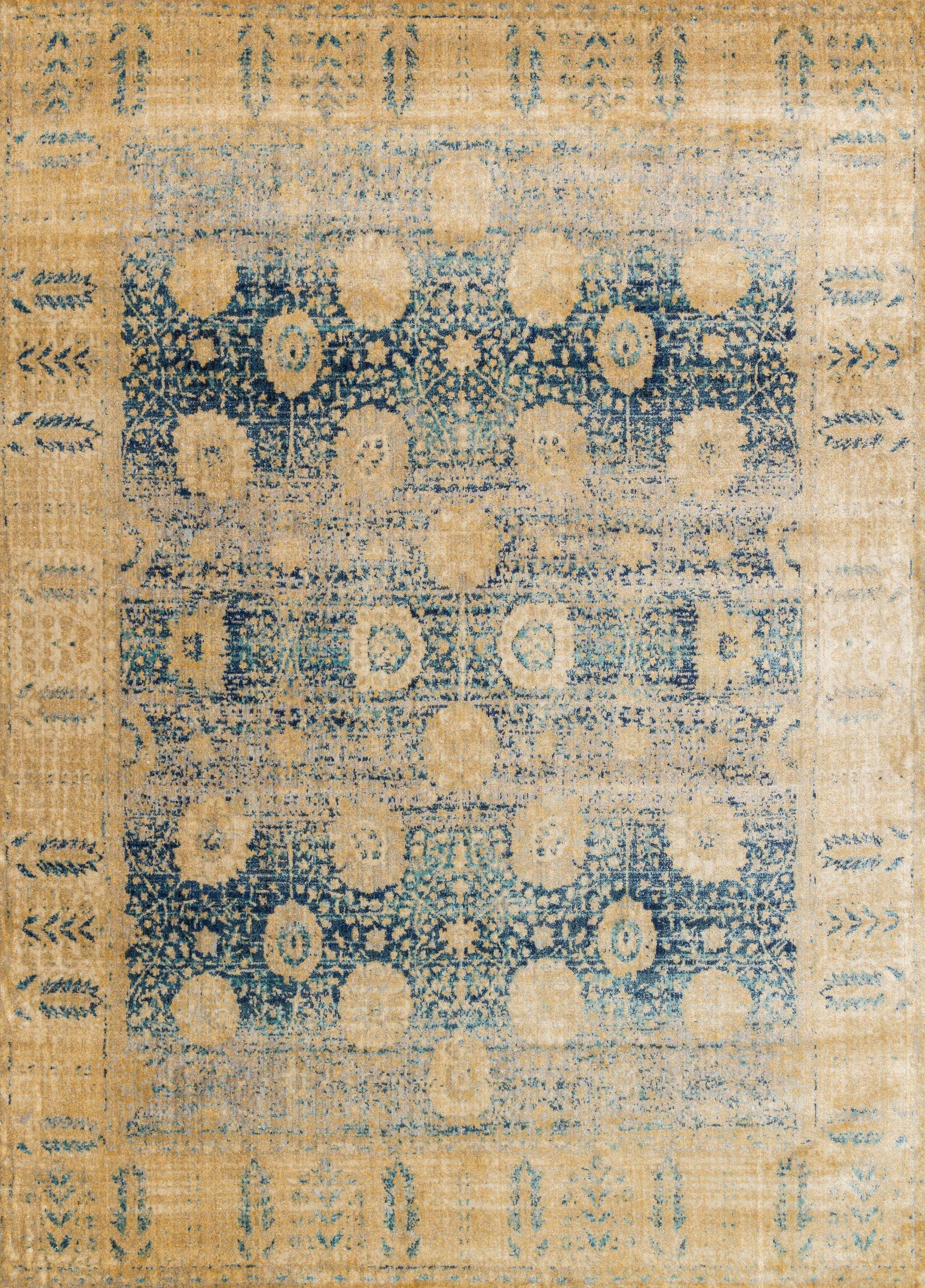 Zehner Blue/Gold Area Rug Rug Size: Rectangle 7'10