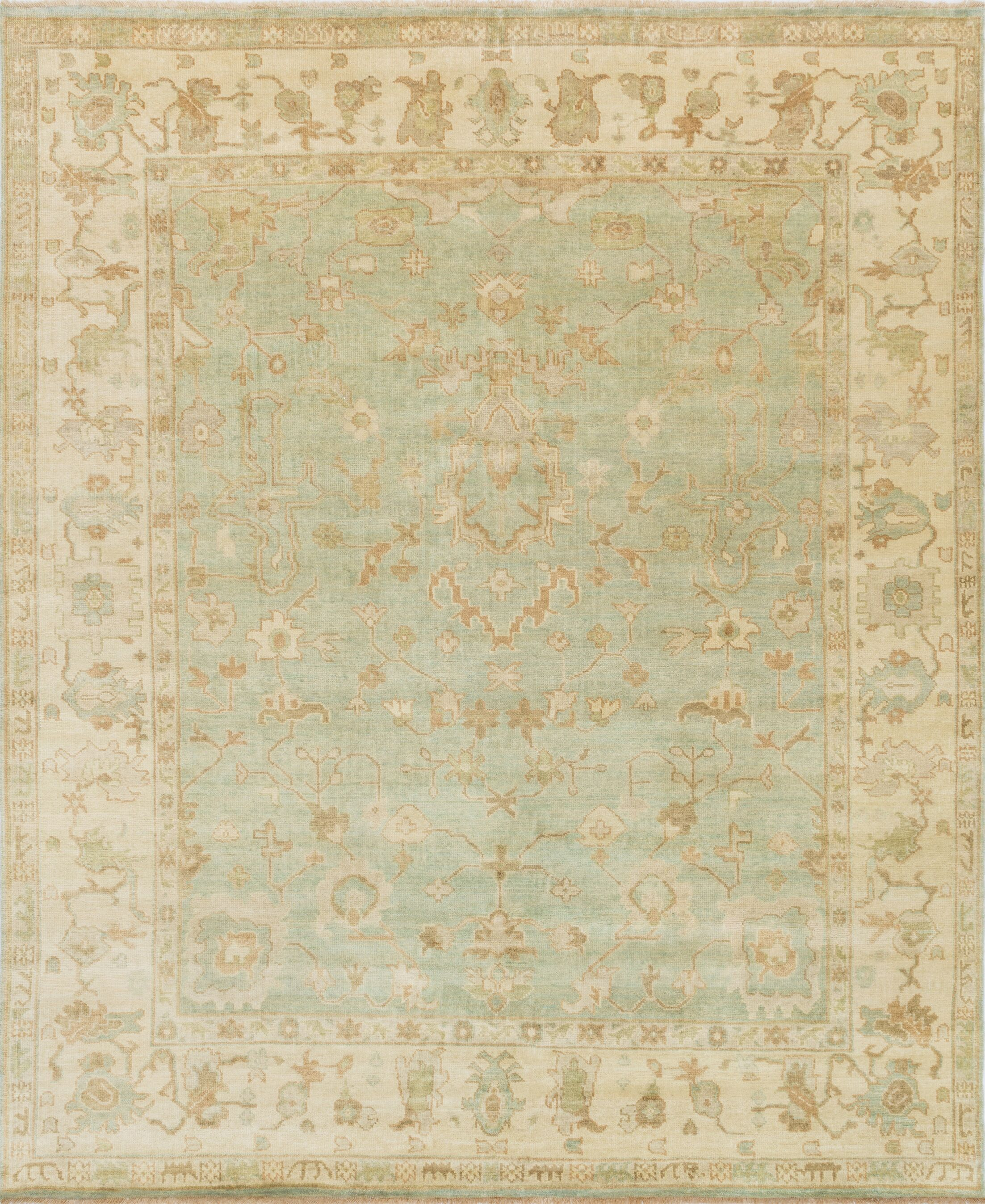 Brentwood Green/Ivory Area Rug Rug Size: 9'6