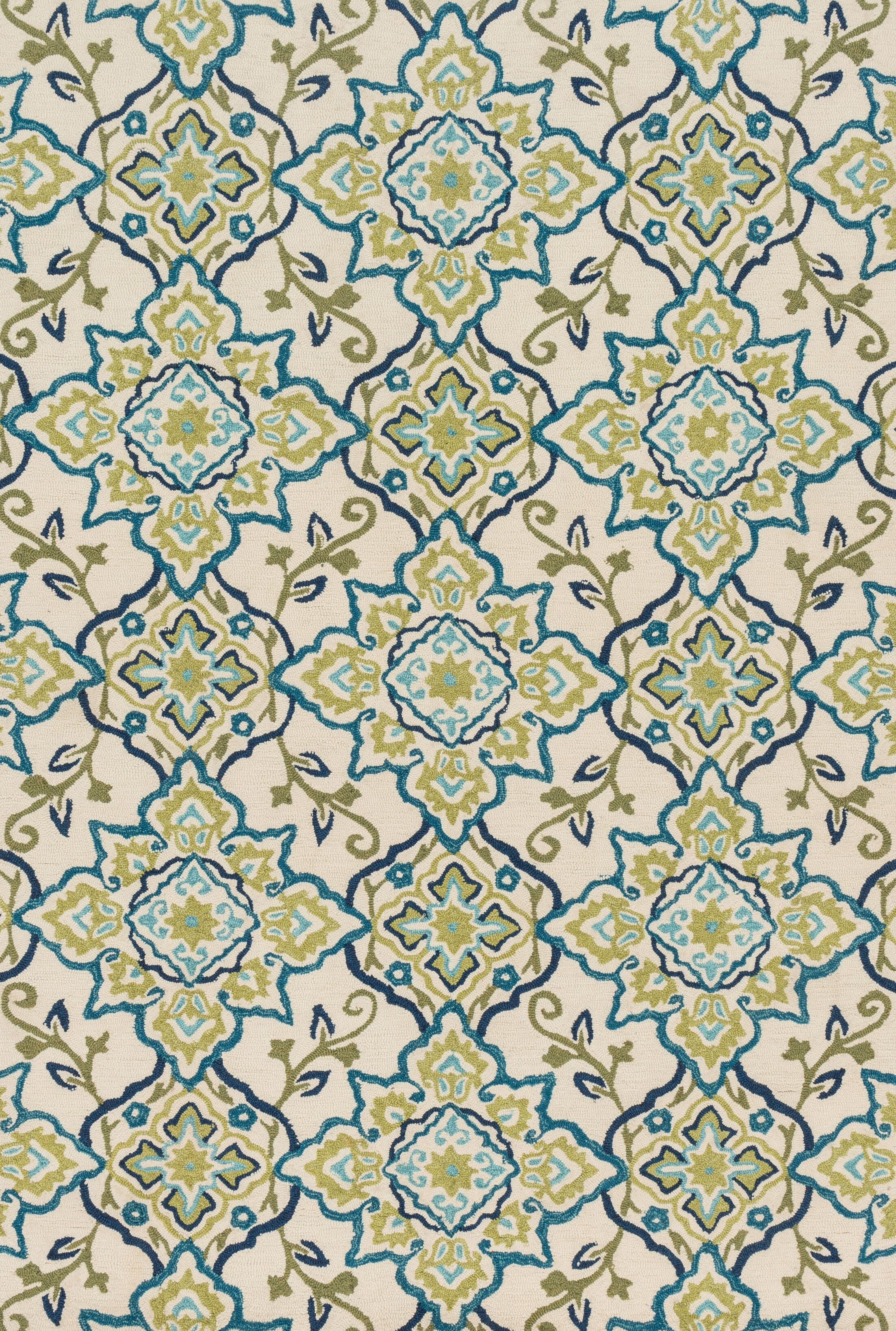 Kips Bay Hand-Hooked Green/Blue Area Rug Rug Size: Rectangle 5' x 7'6