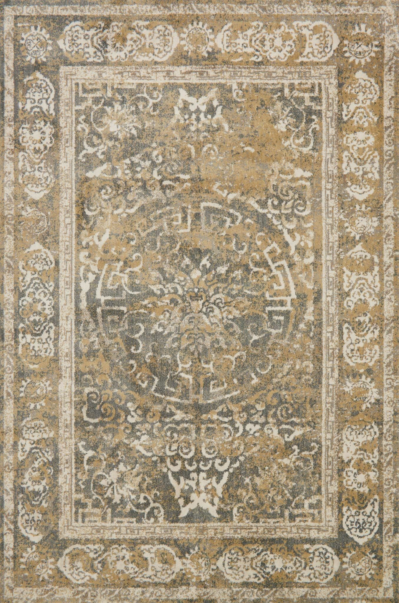Gray/Beige Area Rug Rug Size: Rectangle 6'7