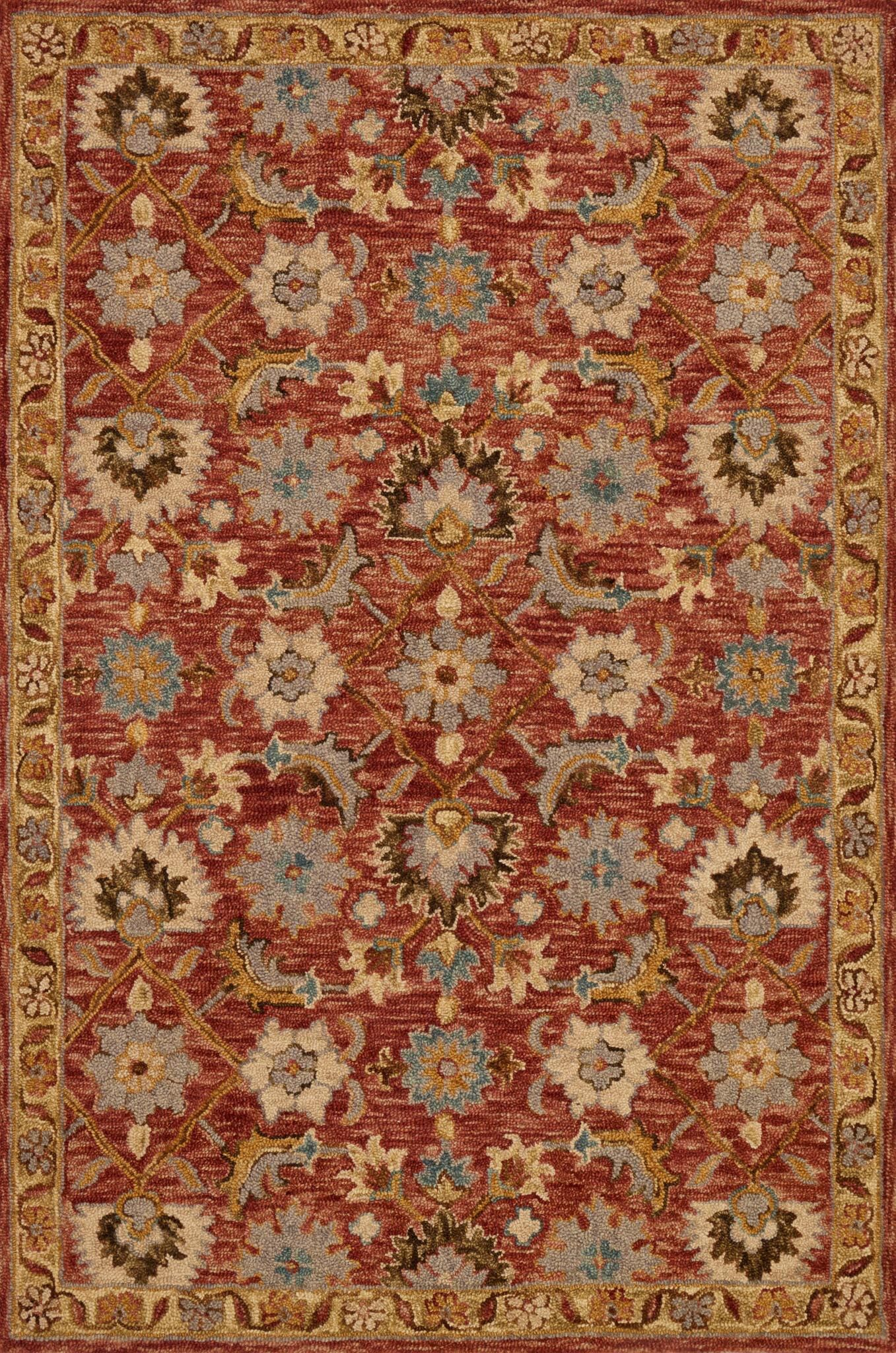 Watertown Hand-Hooked Terracotta/Gold Area Rug Rug Size: Rectangle 9'3
