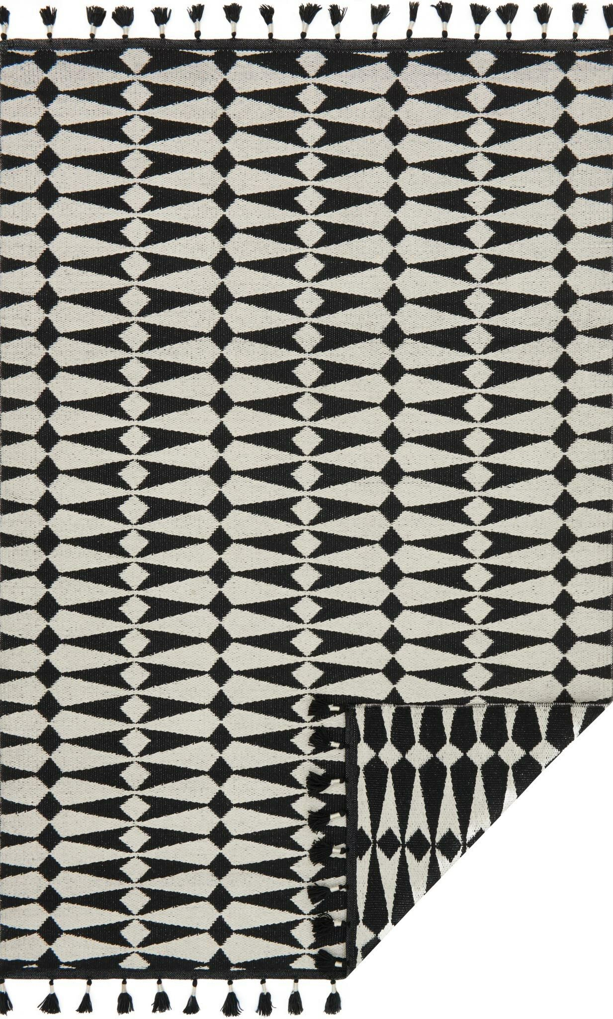 Pangburn Hand-Woven Black/Ivory Area Rug Rug Size: Rectangle 7'9