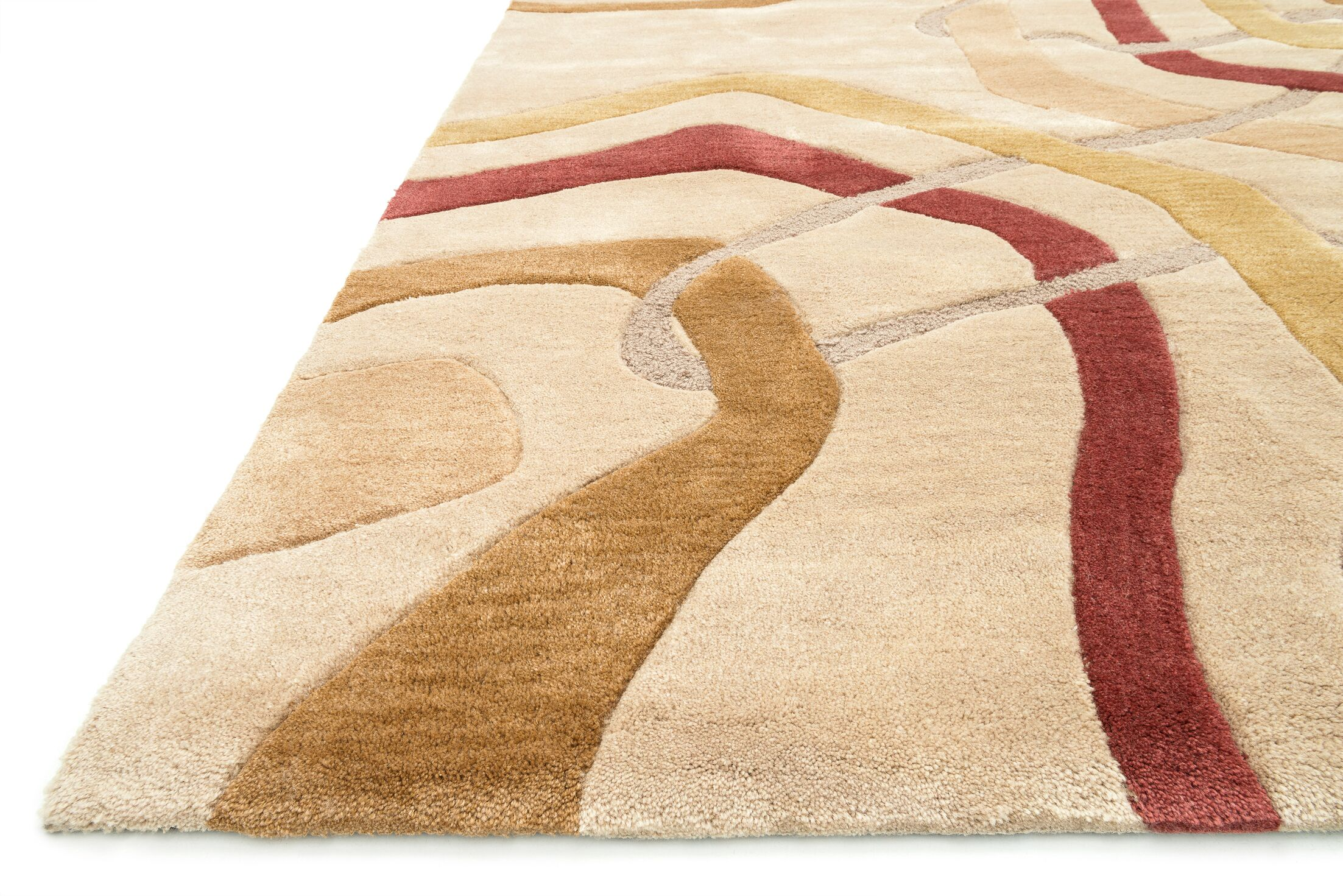 Willhoite Hand-Tufted Gold Area Rug Rug Size: Rectangle 3'6
