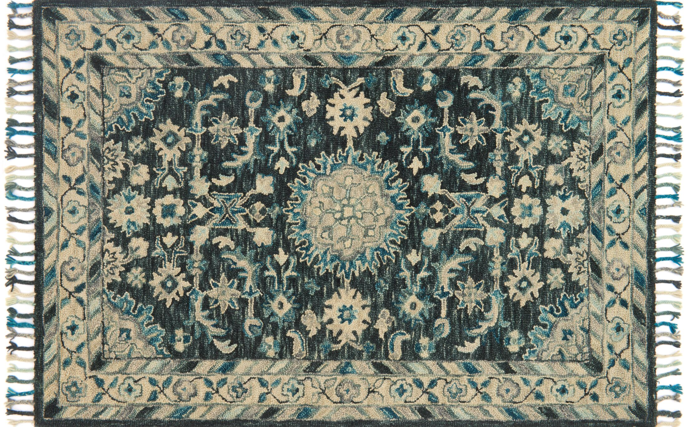 Jovany Hand-Hooked Teal Area Rug Rug Size: Rectangle 3'6