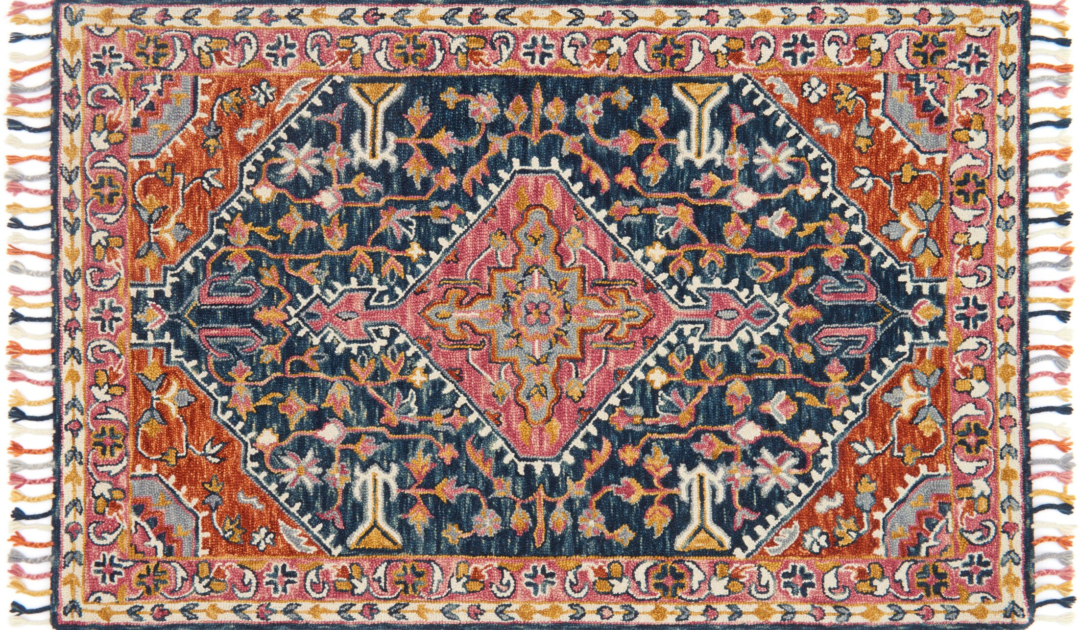 Jovany Hand-Hooked Navy/Pink Area Rug Rug Size: Runner 2'6