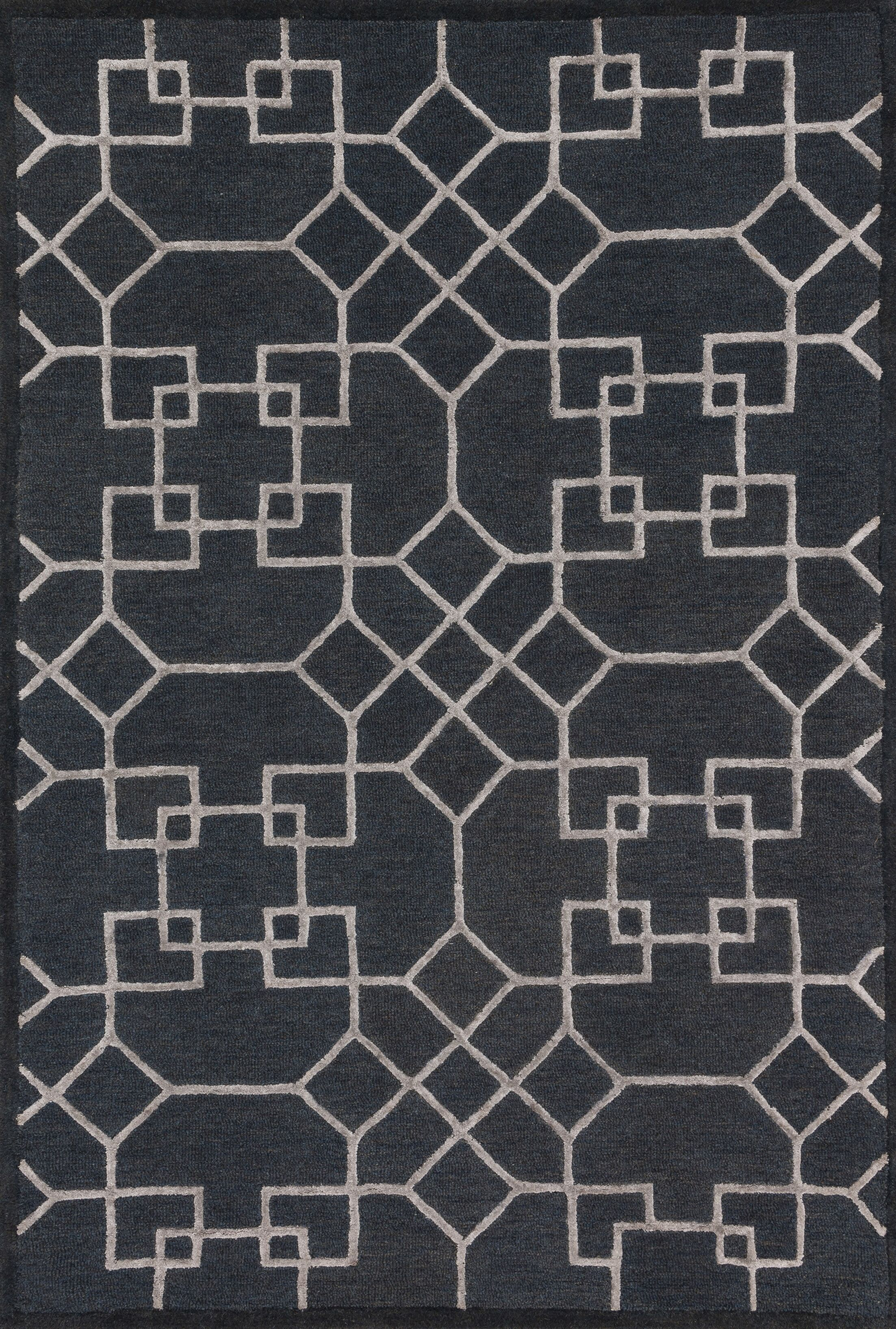 Kirkbride Charcoal/Silver Area Rug Rug Size: Rectangle 3'6