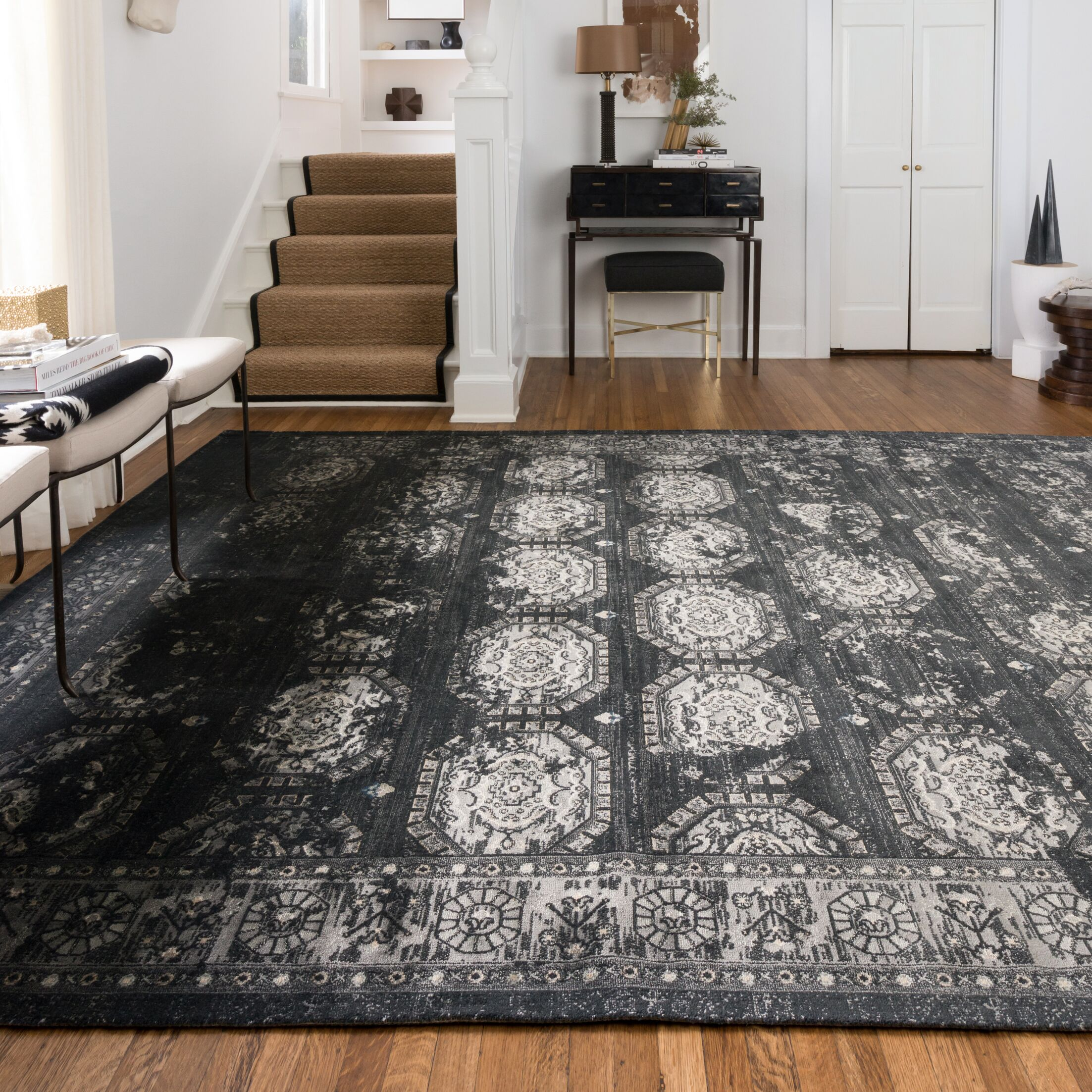 Durdham Park Black/Charcoal Area Rug Rug Size: Rectangle 5' x 7'6