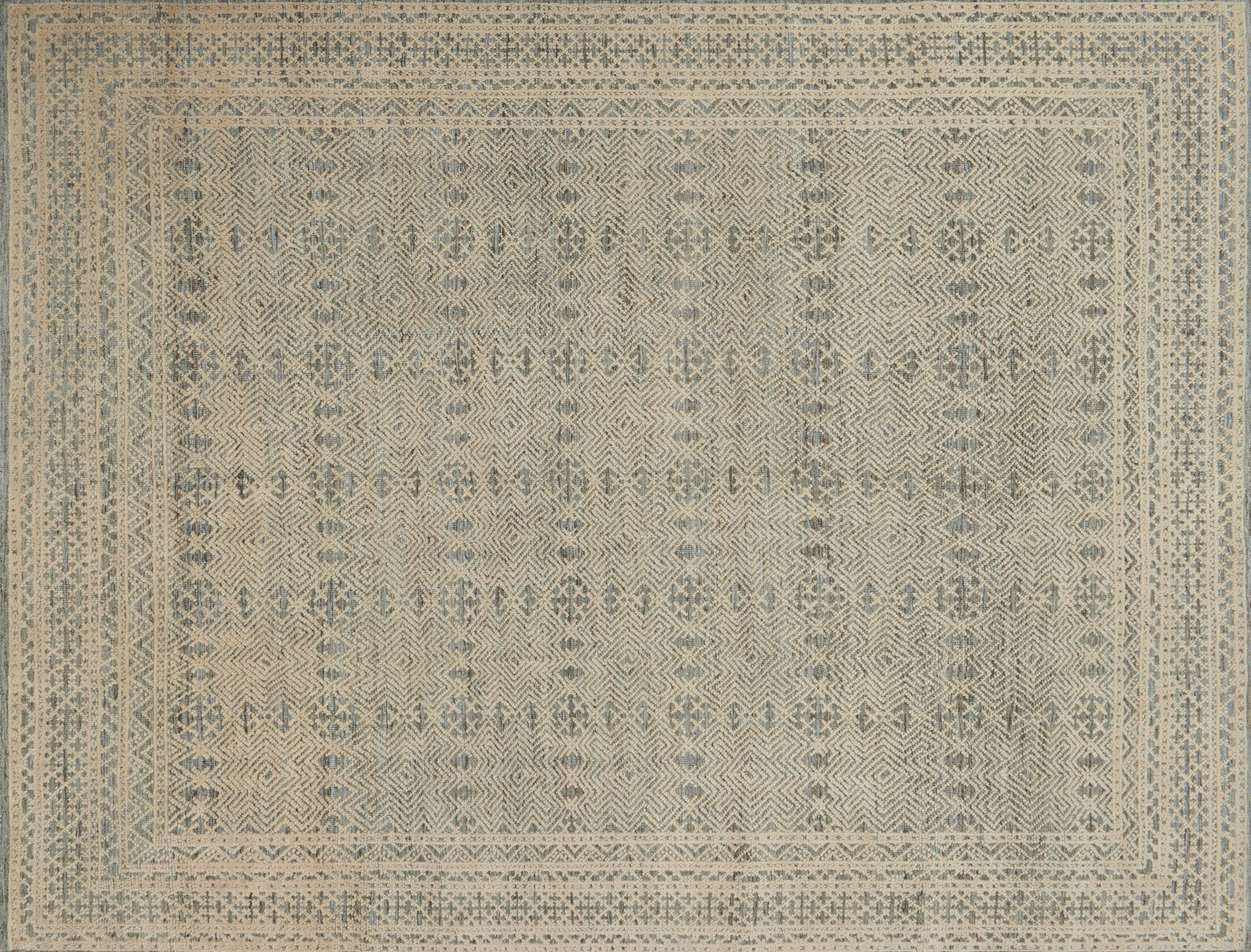 Collins Hand-Knotted Blue/Natural Area Rug Rug Size: Rectangle 12' x 15'